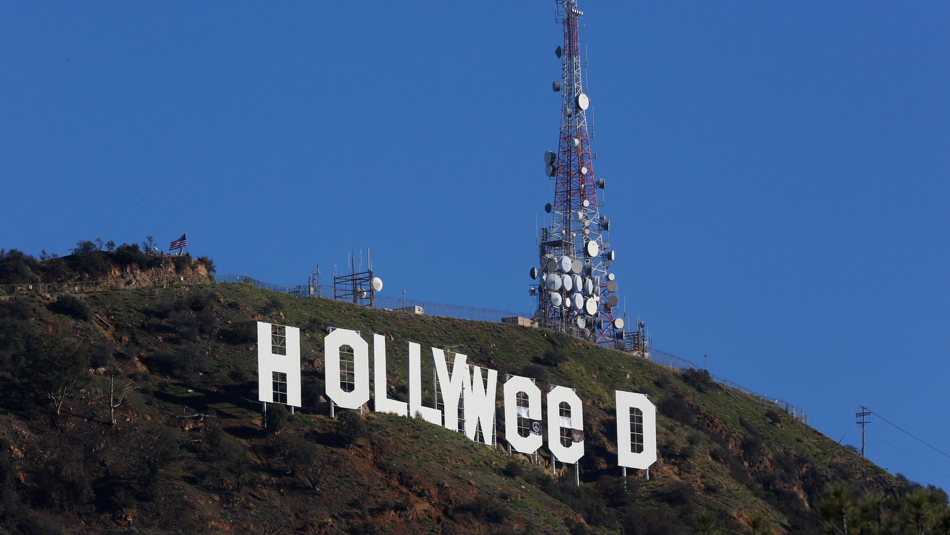 """The """"Hollywood"""" sign was altered to read """"Hollyweed"""" on Sunday."""