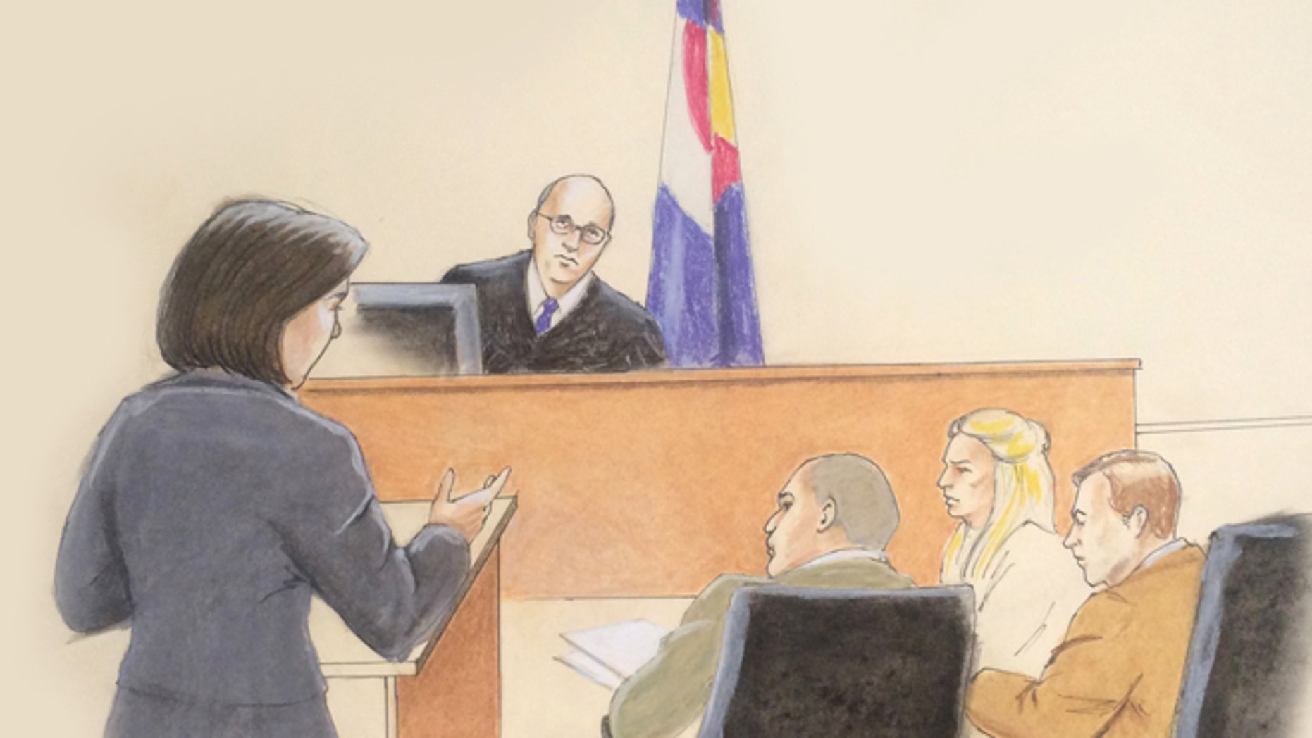 Jan. 20, 2015: In this sketch by courtroom artist Jeff Kandyba, Judge Carlos Samour, center top, is depicted as he faces members of the defense and prosecution teams in court on the first day of jury selection in the trial of Aurora theater shooting defendant James Holmes, at the Arapahoe County Justice Center, in Centennial, Colo. (AP)