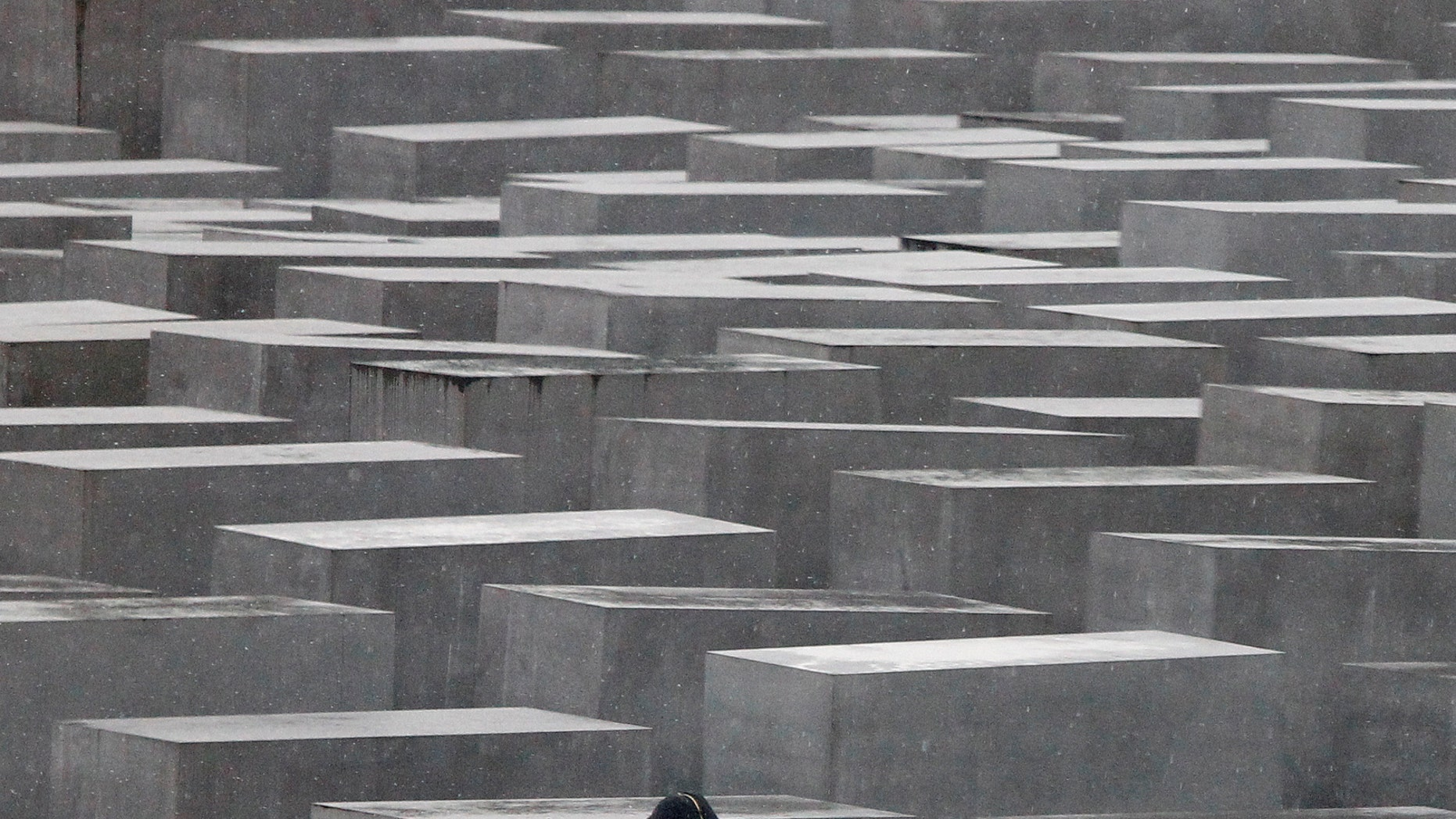 File photo - An unidentified youth jumps from one pillar to another at the Holocaust memorial in Berlin, March 3, 2010. The memorial to the murdered Jews of Europe consists of 2,711 charcoal-grey rectangular pillars, which rise from the ground and form a tight grid through which visitors can wander. (REUTERS/Tobias Schwarz)