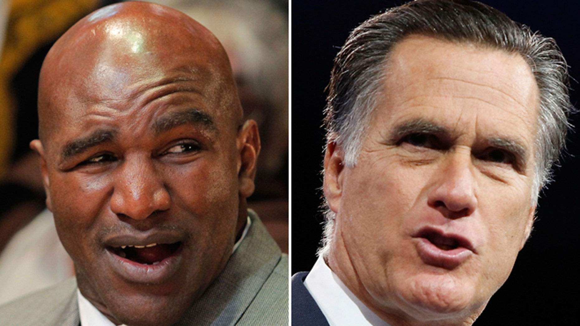 """Forget Mayweather vs. Pacquiao: Evander Holyfield's May bout with Mitt Romney promises to be one of 2015's most anticipated boxing """"fights."""""""