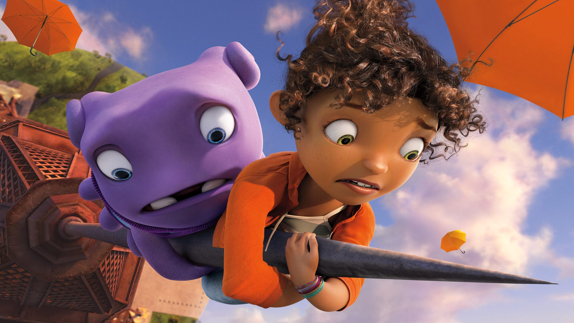 """Oh, voiced by Jim Parsons, left, and Tip, voiced by Rihanna appear in a scene from the animated film """"Home."""""""