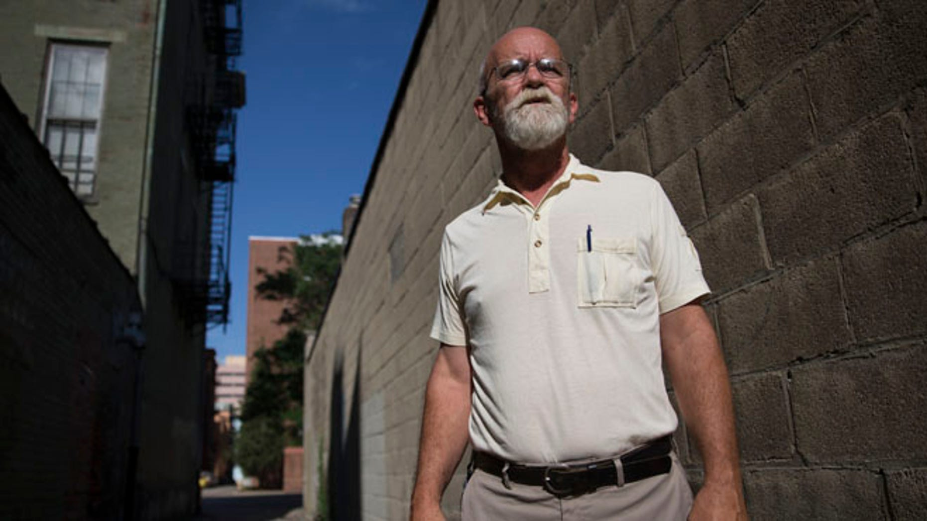 FILE -- June 24, 2015: Veteran Marine David Bowles, 56, a beneficiary of the new Veterans Assistance Homeless Veterans Community Employment Services program, is photographed, in Cincinnati. Bowles and other job-ready veterans who are homeless or on the brink of homelessness can now turn to the program for help finding the types of long-term jobs needed to sustain housing. (AP Photo/John Minchillo)