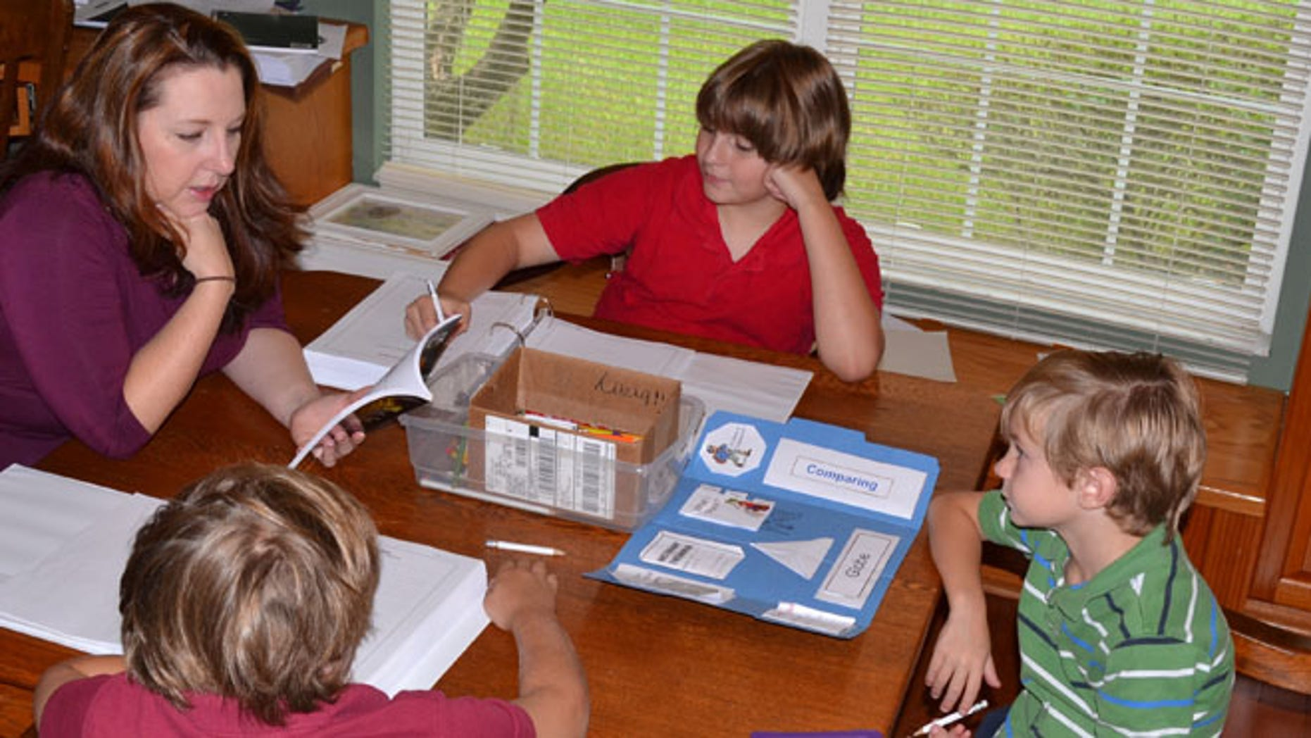 Jill Finnerty Ricardo, of Dade City, Fla., is seen teaching a lesson at home to three of her children, Rhett, 9, Roman, 11, and Reagan, 6.