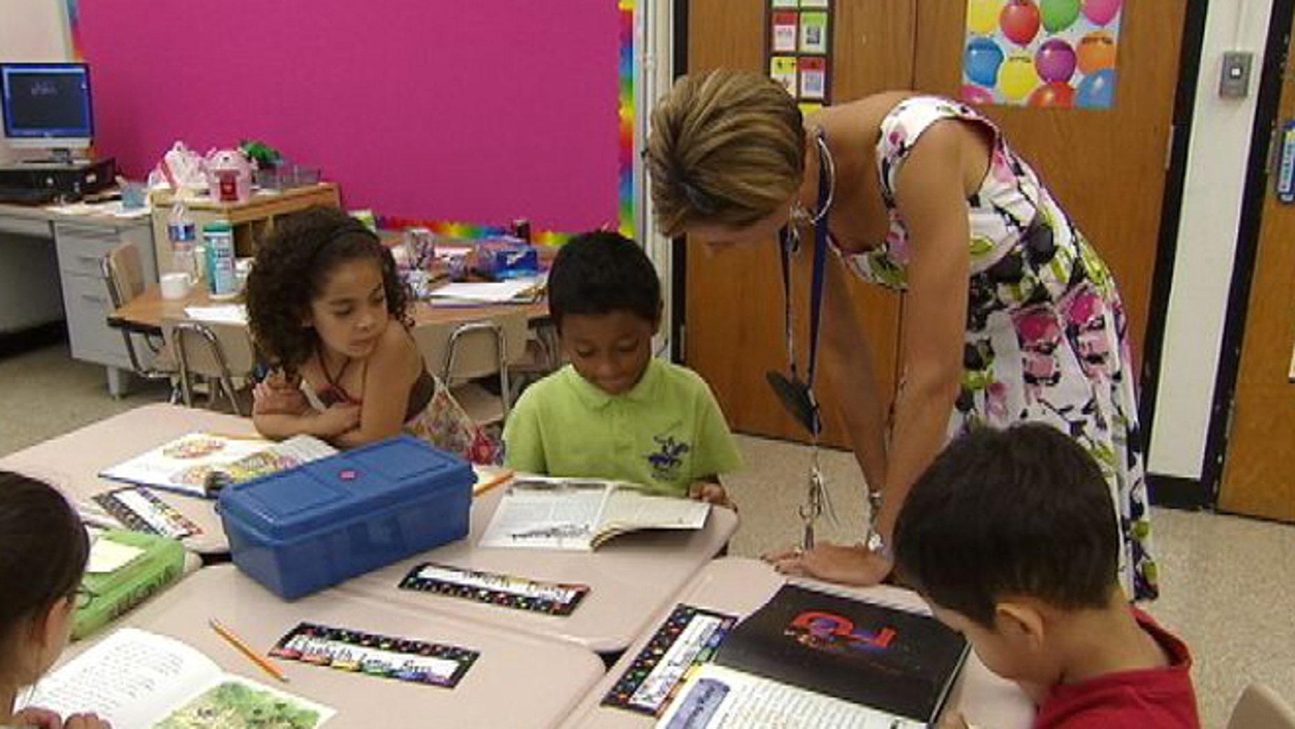 Students at Gaithersburg Elementary School in Gaithersburg, Md.