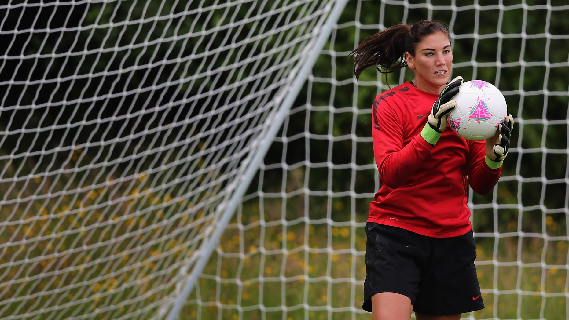 GLASGOW, SCOTLAND - JULY 19:  Hope Solo goalkeeper of USA womens Olympic football team in action during a training session ahead of the Olympics on July 19, 2012 in Glasgow, Scotland.  (Photo by Jeff J Mitchell/Getty Images)