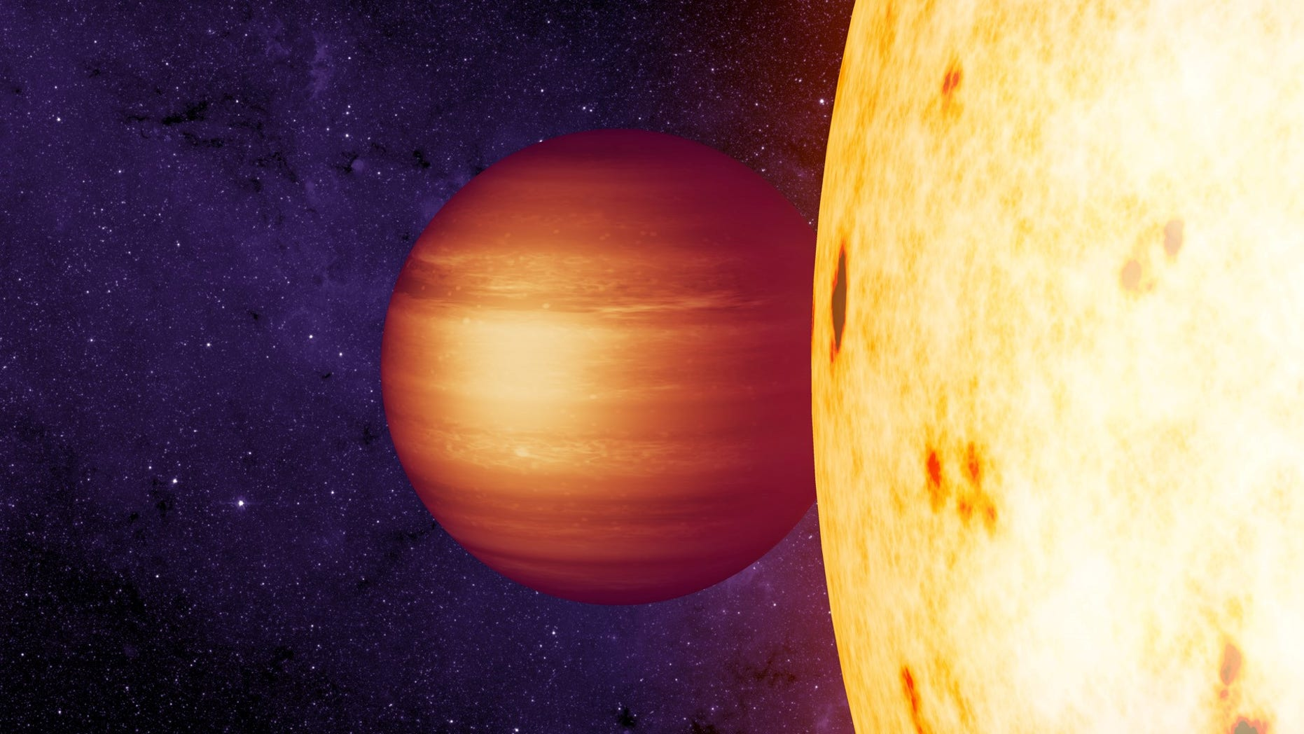 An artist's illustration of the hot Jupiter exoplanet CoRoT 2b, which has a strange westward-blowing hotspot in its atmosphere, scientists say.