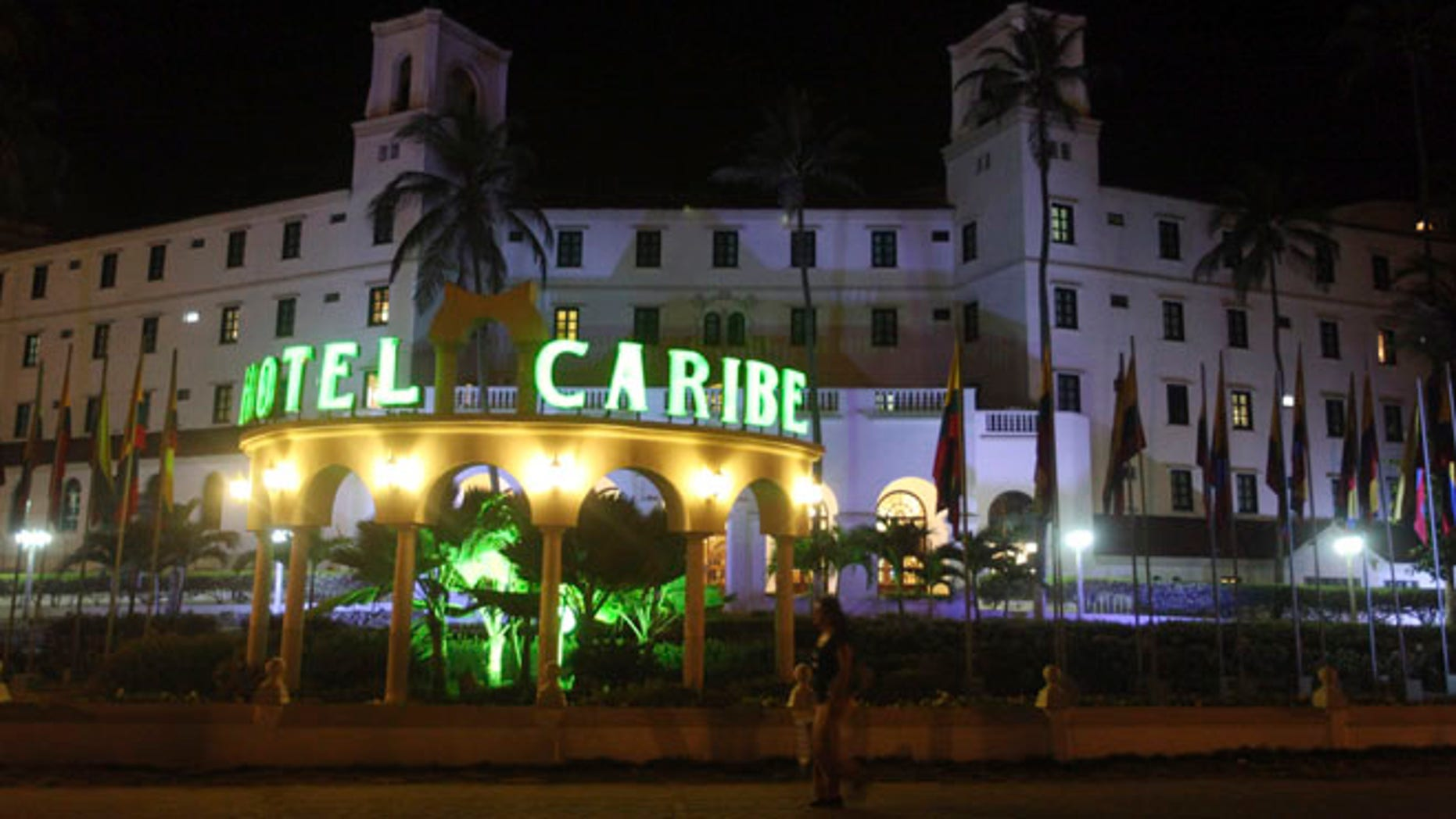 April 19, 2012: People walk past Hotel El Caribe in Cartagena, Colombia -- where Secret Service agents allegedly brought prostitutes ahead of President Obama's visit.