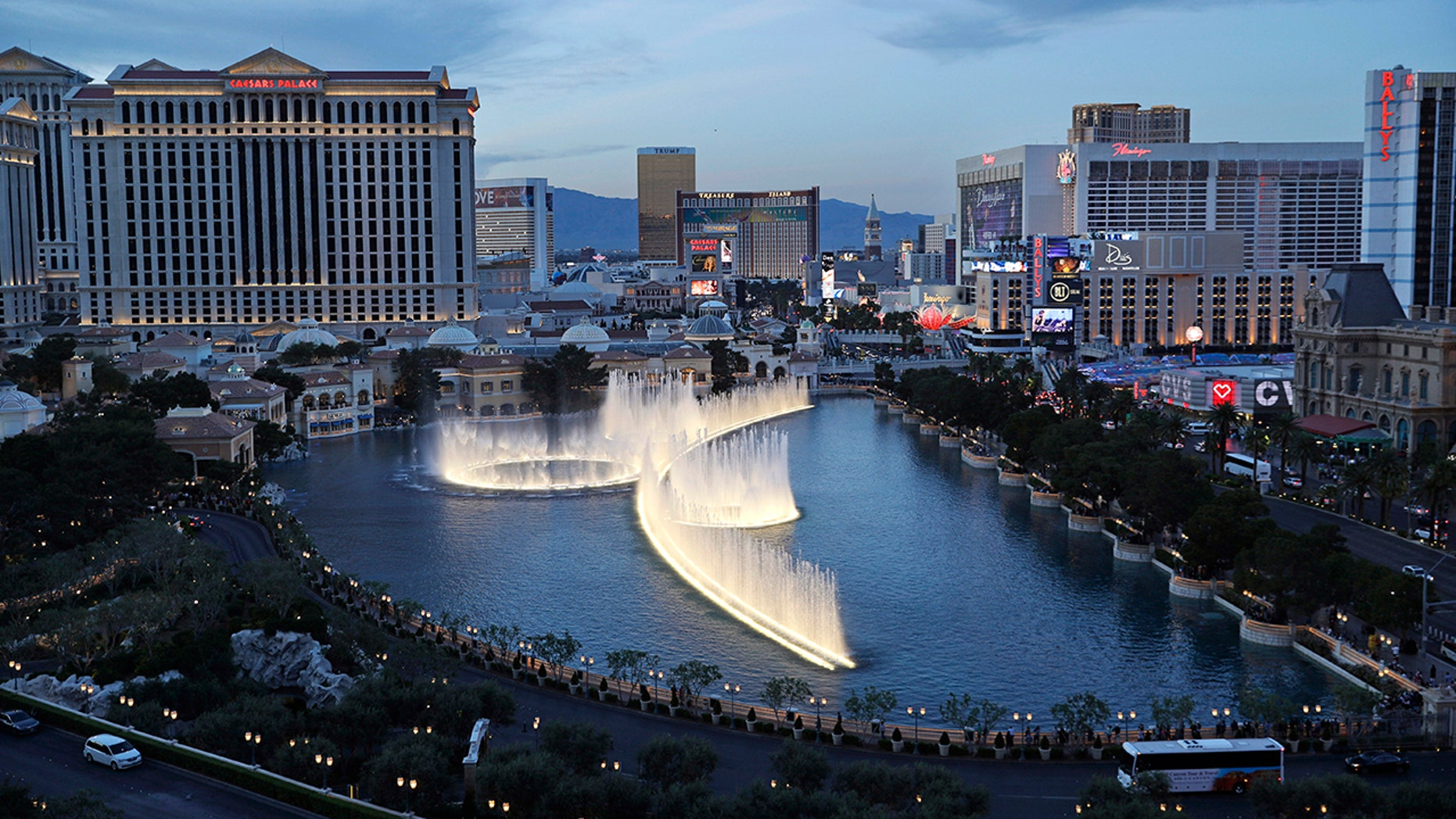The fountains of the Bellagio hotel erupt along the Las Vegas Strip in Las Vegas.