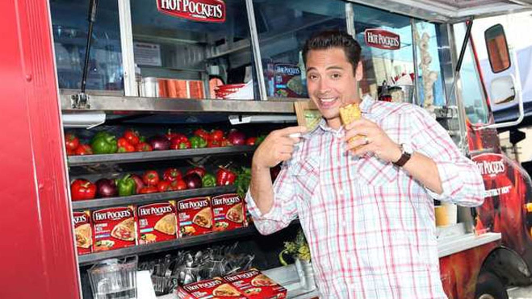 "Food Network's ""Sandwich King"" Jeff Mauro is seen on location with the new Hot Pockets brand sandwiches in Los Angeles."
