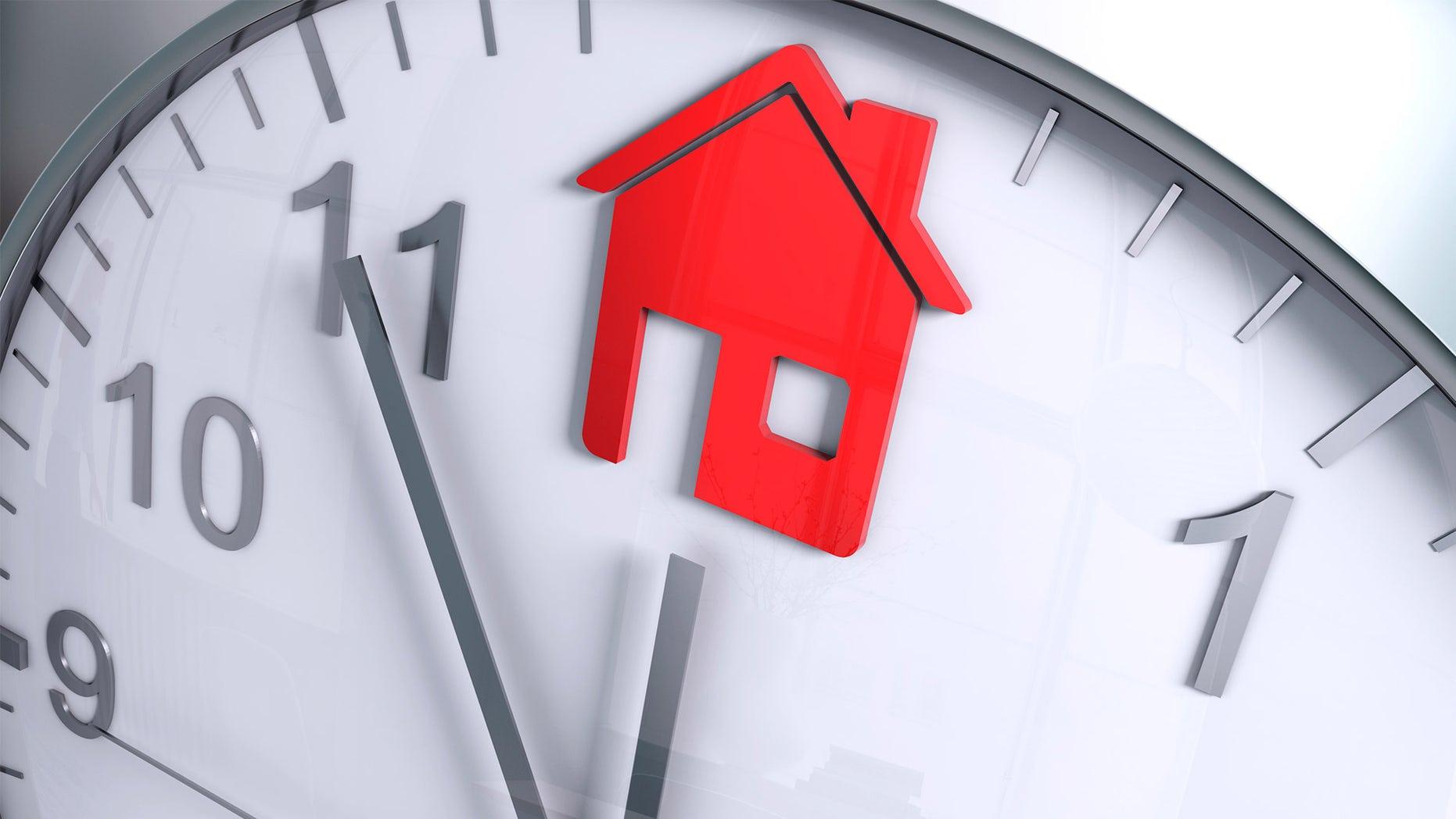 house shape on clock face