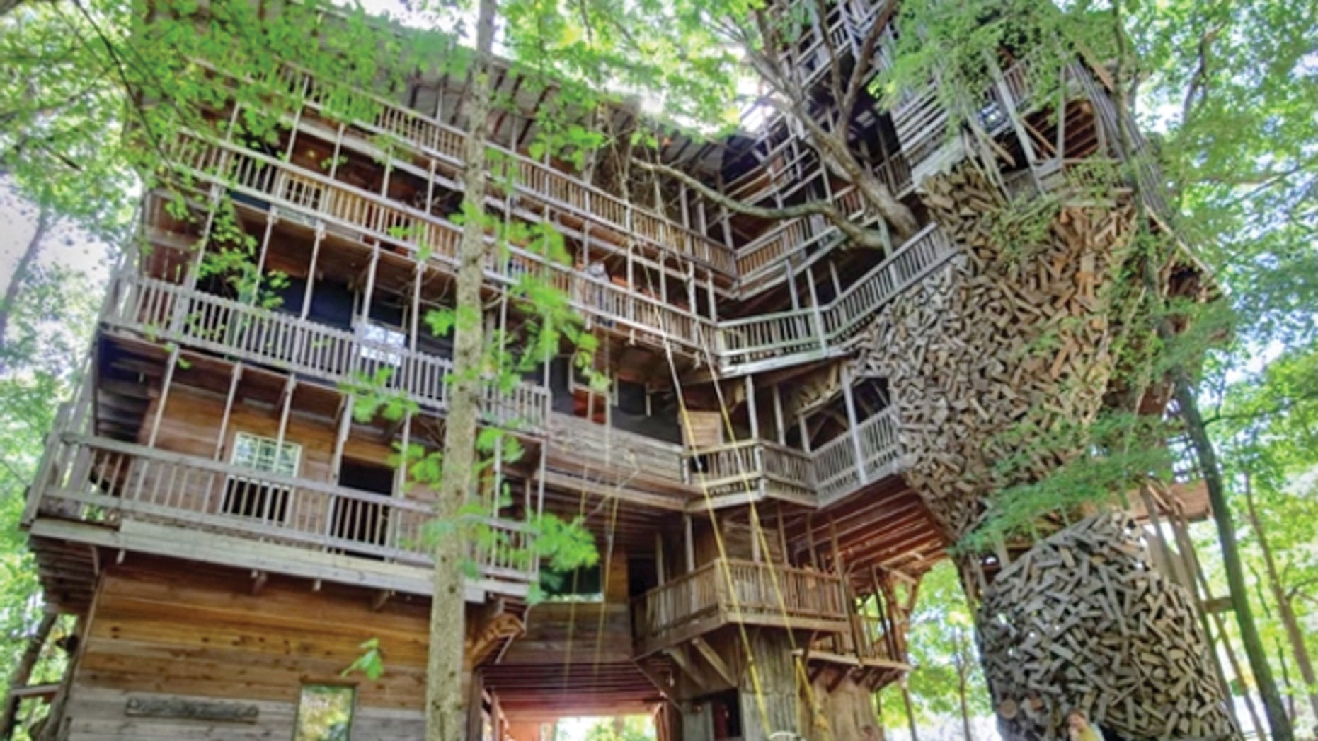 The treehouse stands 97 feet in the air and is built on six load bearing trees.