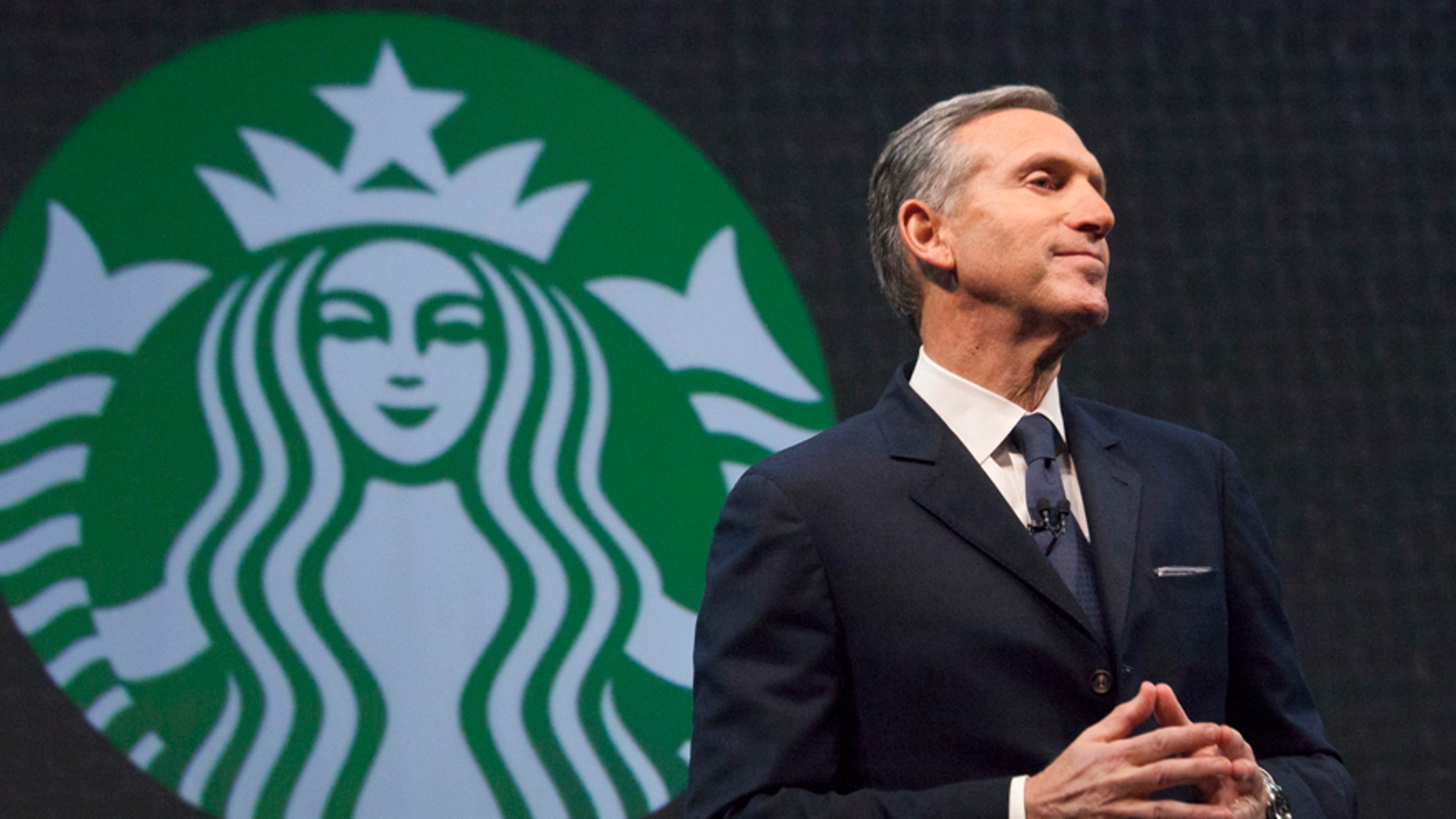 Starbucks Chief Executive Howard Schultz speaks during the company's annual shareholder's meeting in Seattle, Washington, on March 18, 2015.