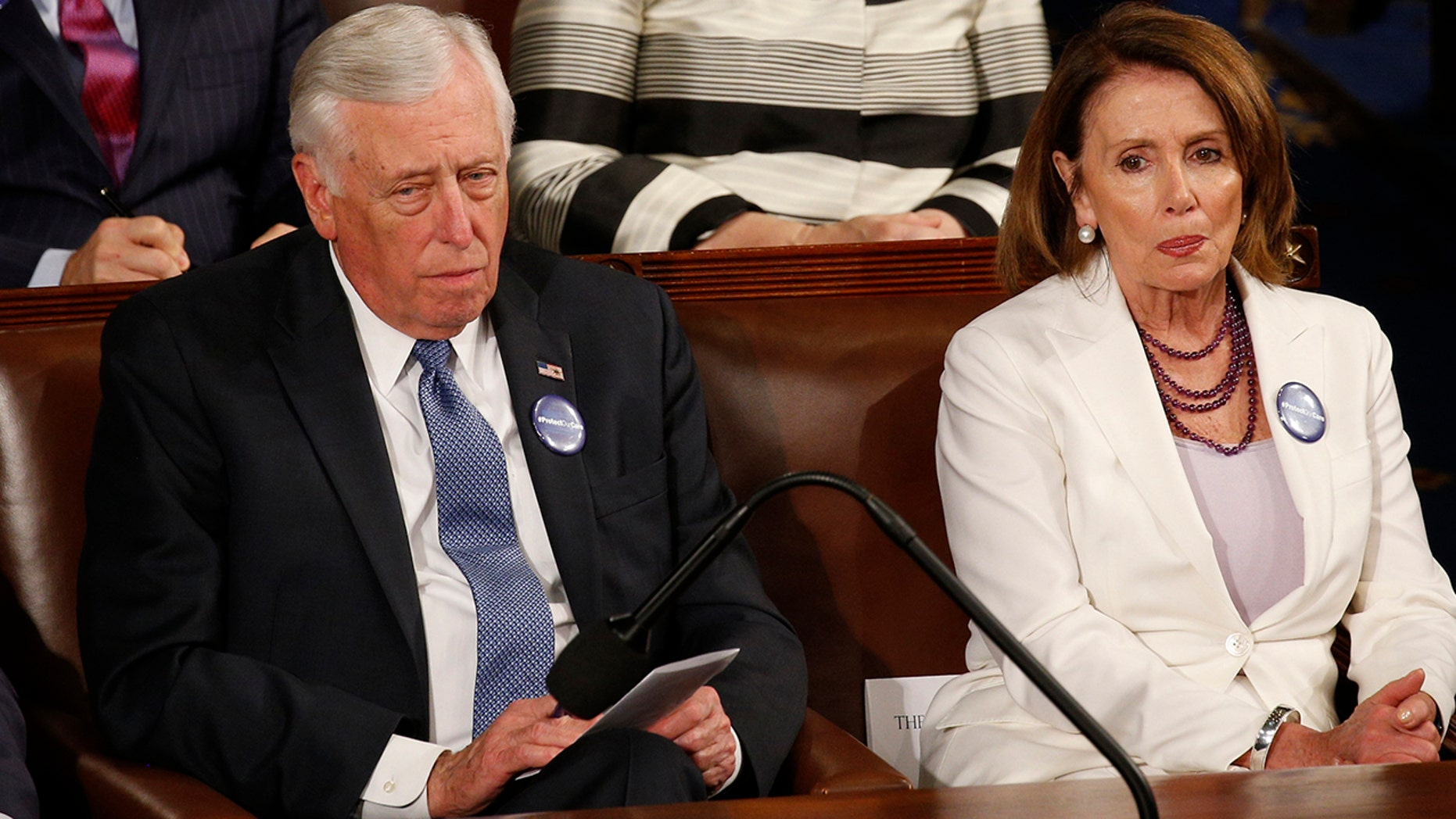 House Minority Leader Nancy Pelosi came to the defense of House Minority Whip Steny Hoyer on Thursday after an audio recording surfaced of him pressuring a progressive candidate to drop out of a race.