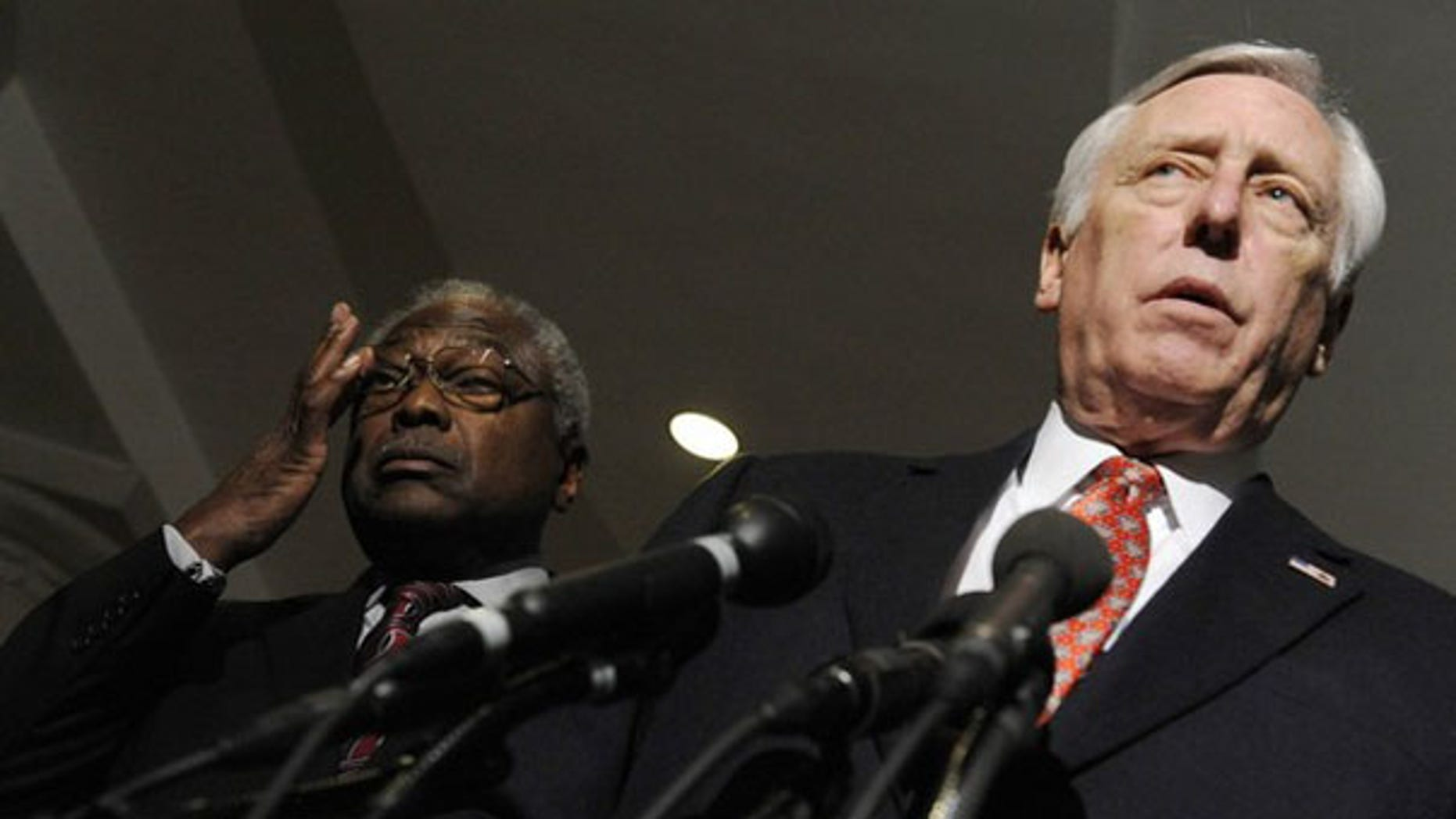 House Majority Leader Steny Hoyer, right, and Majority Whip James Clyburn speak to reporters at the U.S. Capitol March 20. (Reuters Photo)