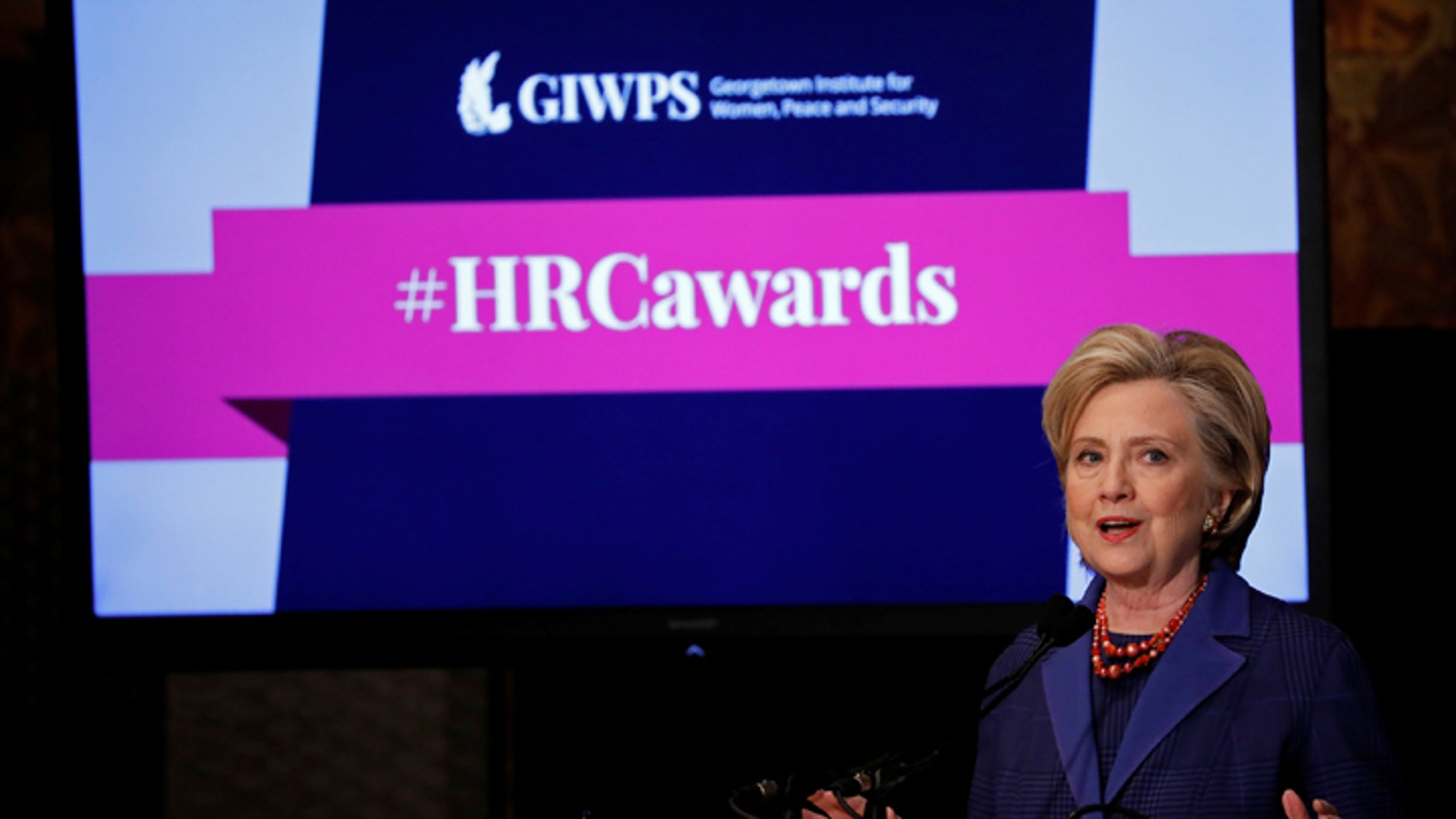 Former Secretary of State Hillary Clinton speaks at the annual Hillary Rodham Clinton awards ceremony at Georgetown University in Washington, U.S., February 5, 2018. REUTERS/Aaron P. Bernstein - RC1BCE802C30