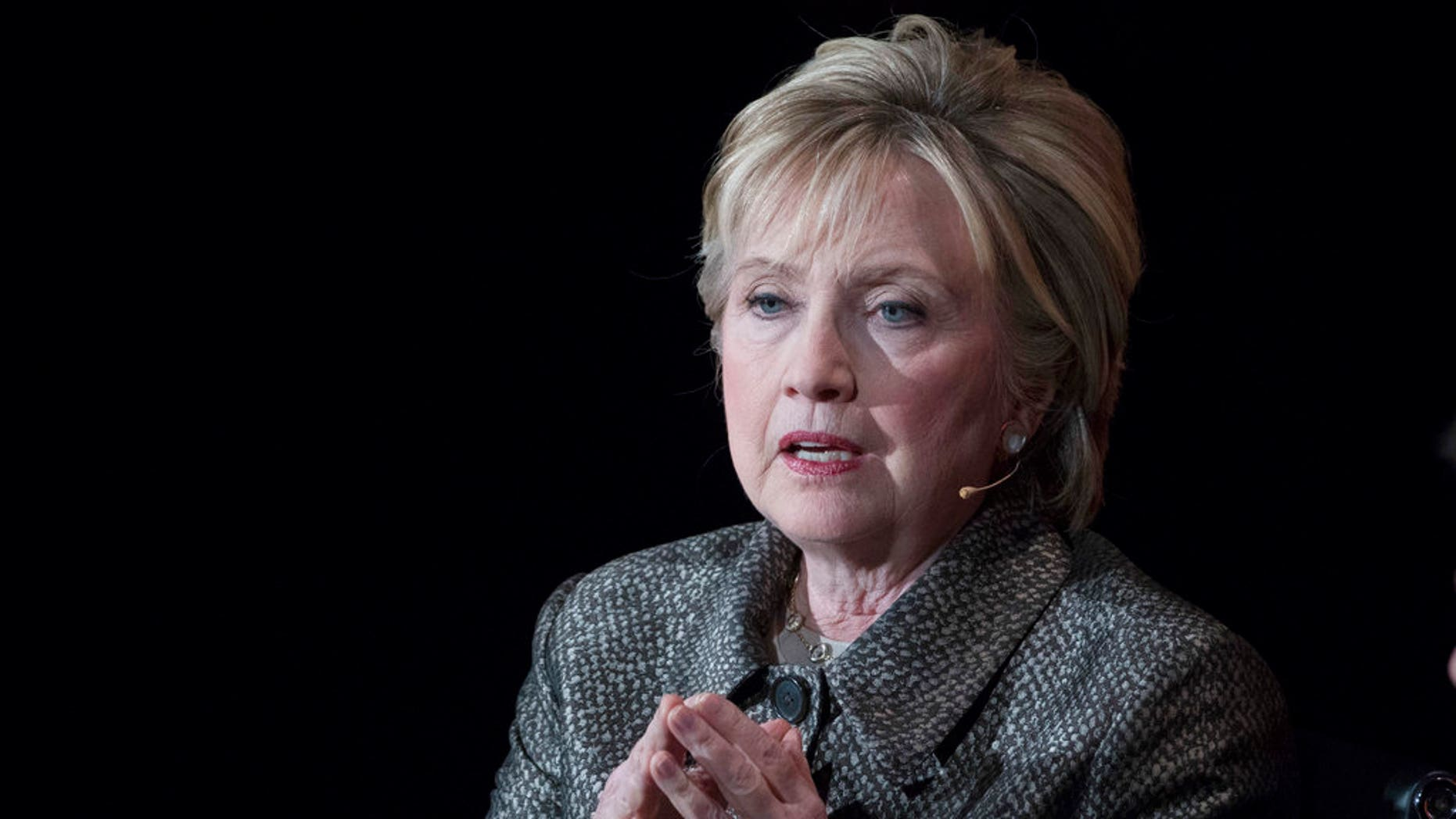 FILE - In this April 6, 2017, file photo, former Secretary of State Hillary Clinton speaks in New York. The Justice Department's internal watchdog is expected to criticize the FBI's handling of the Clinton email investigation, stepping into a political minefield as it details how a determinedly non-partisan law enforcement agency came to be entangled in the 2016 presidential race. President Donald Trump will look to the inspector general report to provide a fresh line of attack against the FBI's two former top officials, Director James Comey and his deputy, Andrew McCabe, as he claims that a politically tainted bureau tried to undermine his campaign and, through the Russia investigation, his presidency. (AP Photo/Mary Altaffer, File)