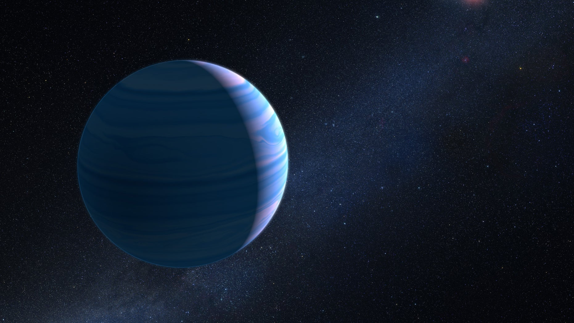 This artist's illustration shows a gas giant planet circling a pair of red dwarf stars in the system OGLE-2007-BLG-349.