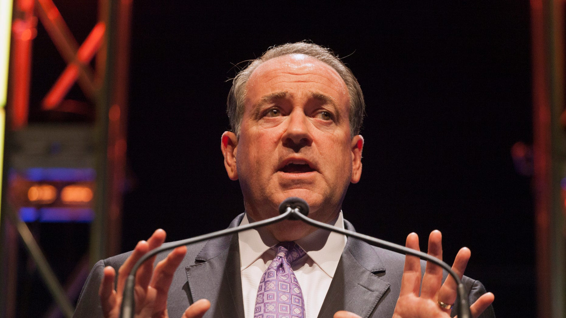 Aug. 9, 2014: Former Arkansas Governor Mike Huckabee speaks at the Family Leadership Summit in Ames, Iowa.