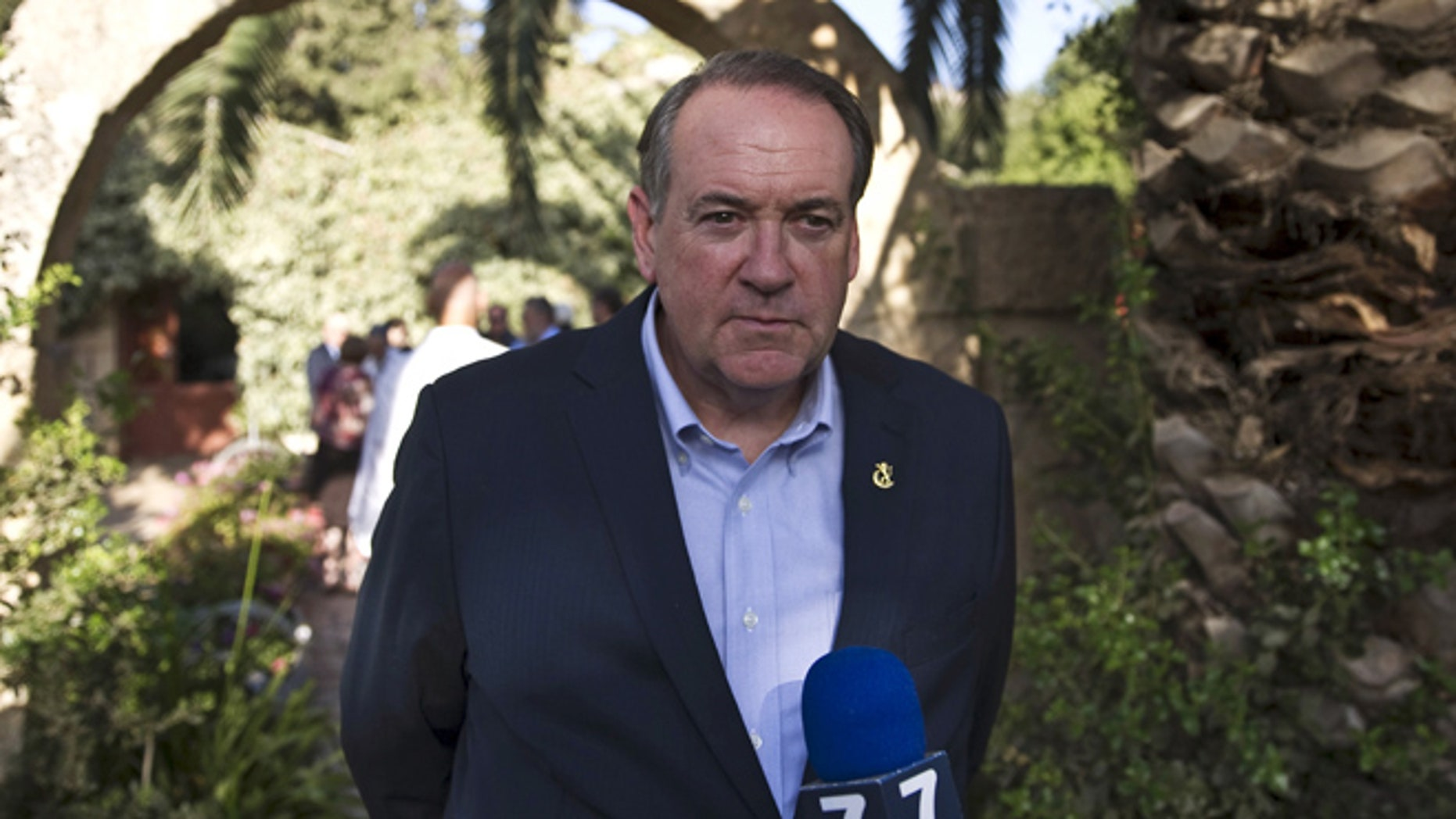 Aug. 18, 2015: Mike Huckabee, Republican presidential candidate and former Arkansas governor, takes part in a news conference near the West Bank Jewish settlement of Shiloh. (Reuters)