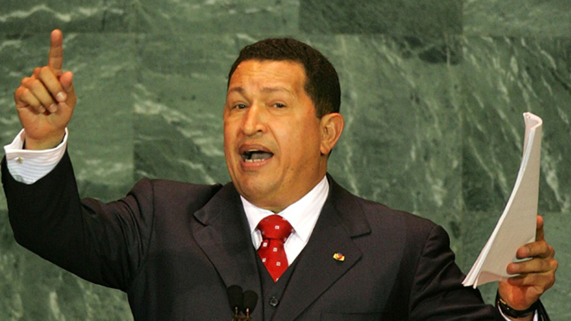NEW YORK - SEPTEMBER 15:  (ALTERNATIVE CROP) Venezuelan President Hugo Chavez addresses the United Nations General Assembly September 15, 2005 in New York City. World leaders gathered for the second day of the summit marking the 60th anniversary of the world organization.  (Photo by Daniel Berehulak/Getty `Images)
