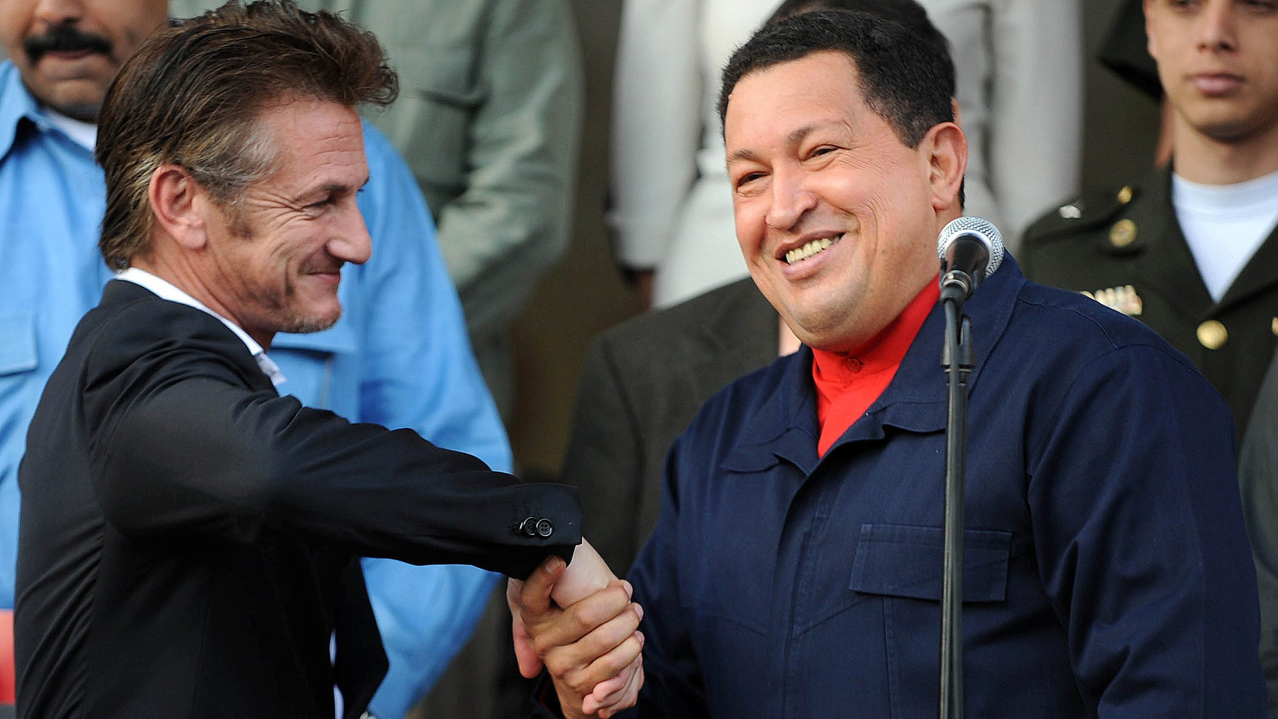 Late Venezuelan President Hugo Chavez and Sean Penn in Caracas on March 5, 2011.