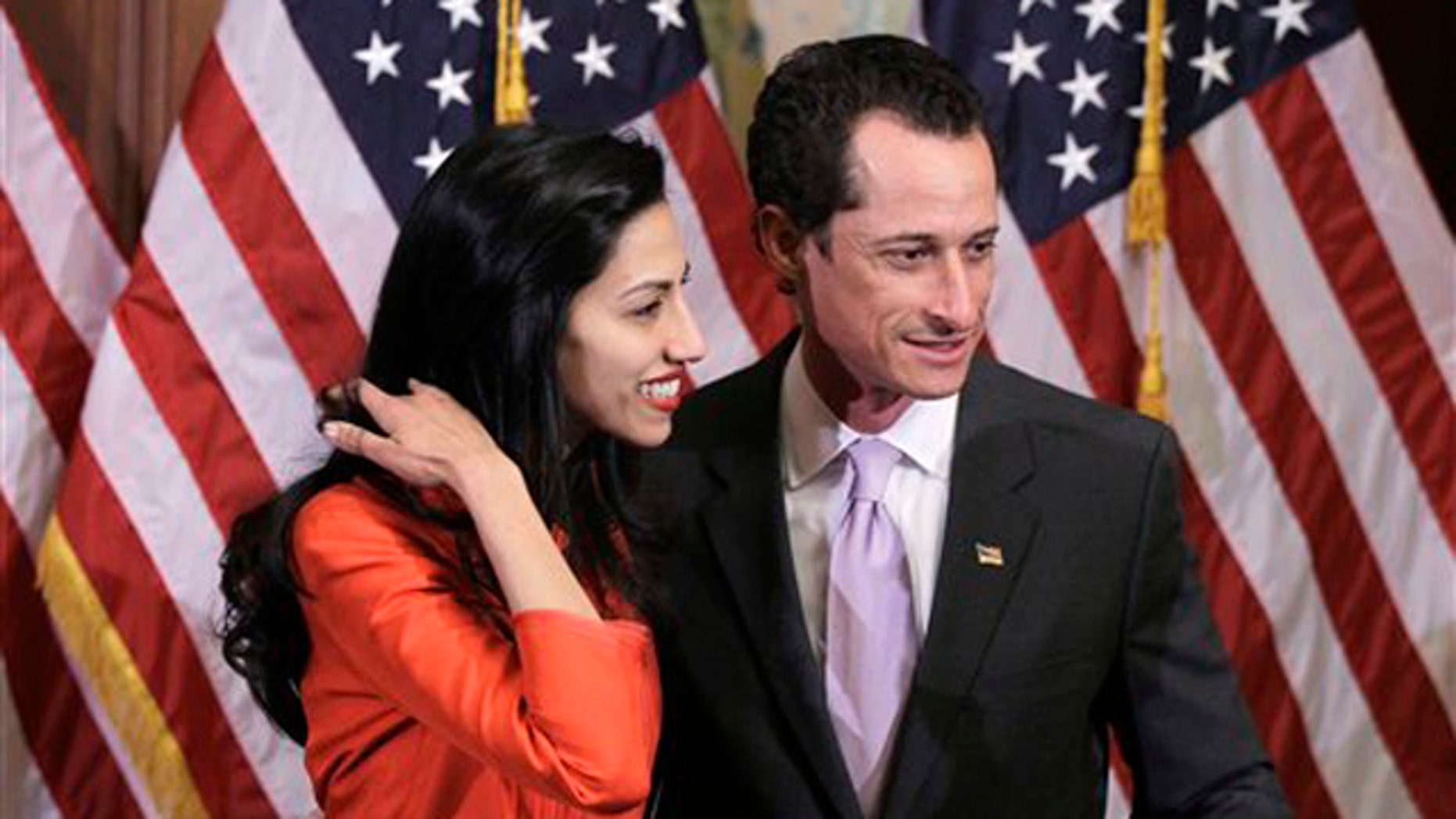 Rep. Anthony Weiner and his wife, Huma Abedin are pictured after a ceremonial swearing in of the 112th Congress on Capitol Hill in Washington in this Jan. 5 photo.