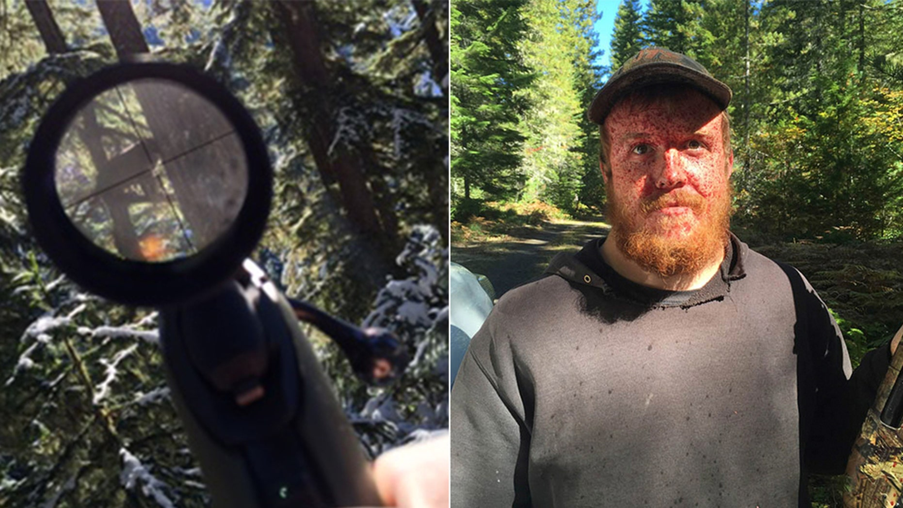 William Haynes is pictured on the right with a camouflaged shotgun he allegedly used to kill bears, according to The Seattle Times.
