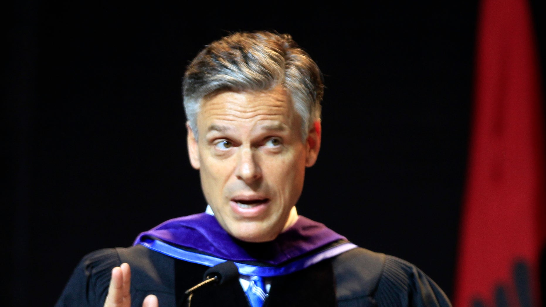 Possible 2012 presidential hopeful, former Republican Gov. Jon Huntsman, Jr., of Utah gives a commencement address to more than 1,000 students at Southern New Hampshire University, Saturday, May 21, 2011 in Manchester, N.H. (AP)