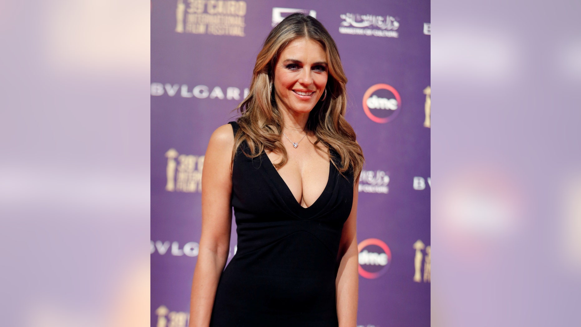 British actor Elizabeth Hurley, seen above in November 2017, took some heat online for her cleavage-baring dress.