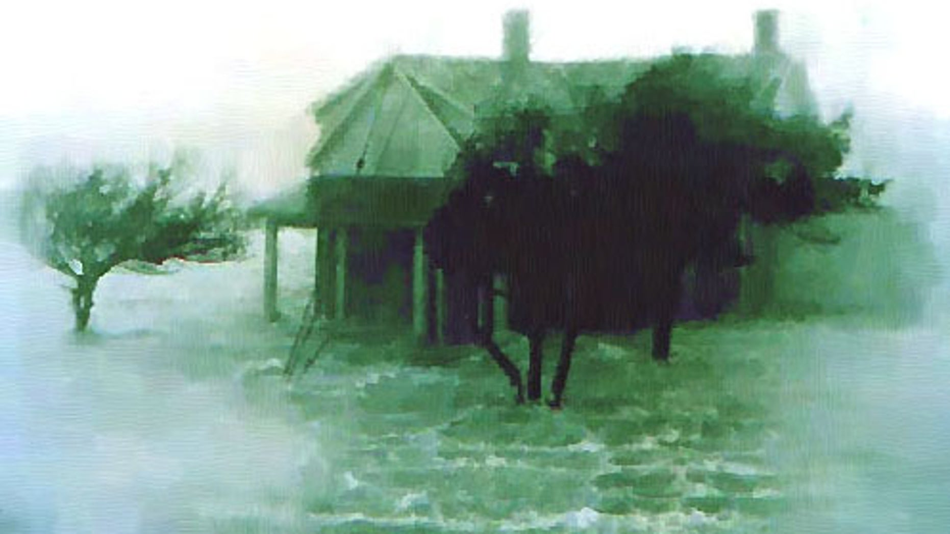 An image showing flooding from Hurricane Audrey, which killed about 500 people in 1957.