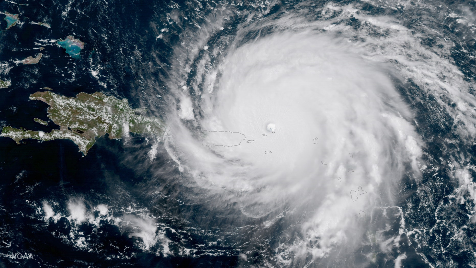 GOES-16 captured this geocolor image of Hurricane Irma — a category 5 storm with winds as high as 185 miles per hour — today at about 3:15 pm (eastern), September 6, 2017. Irma is forecast to remain a powerful category 4 or 5 hurricane during the next couple of days. (Credit: NOAA)