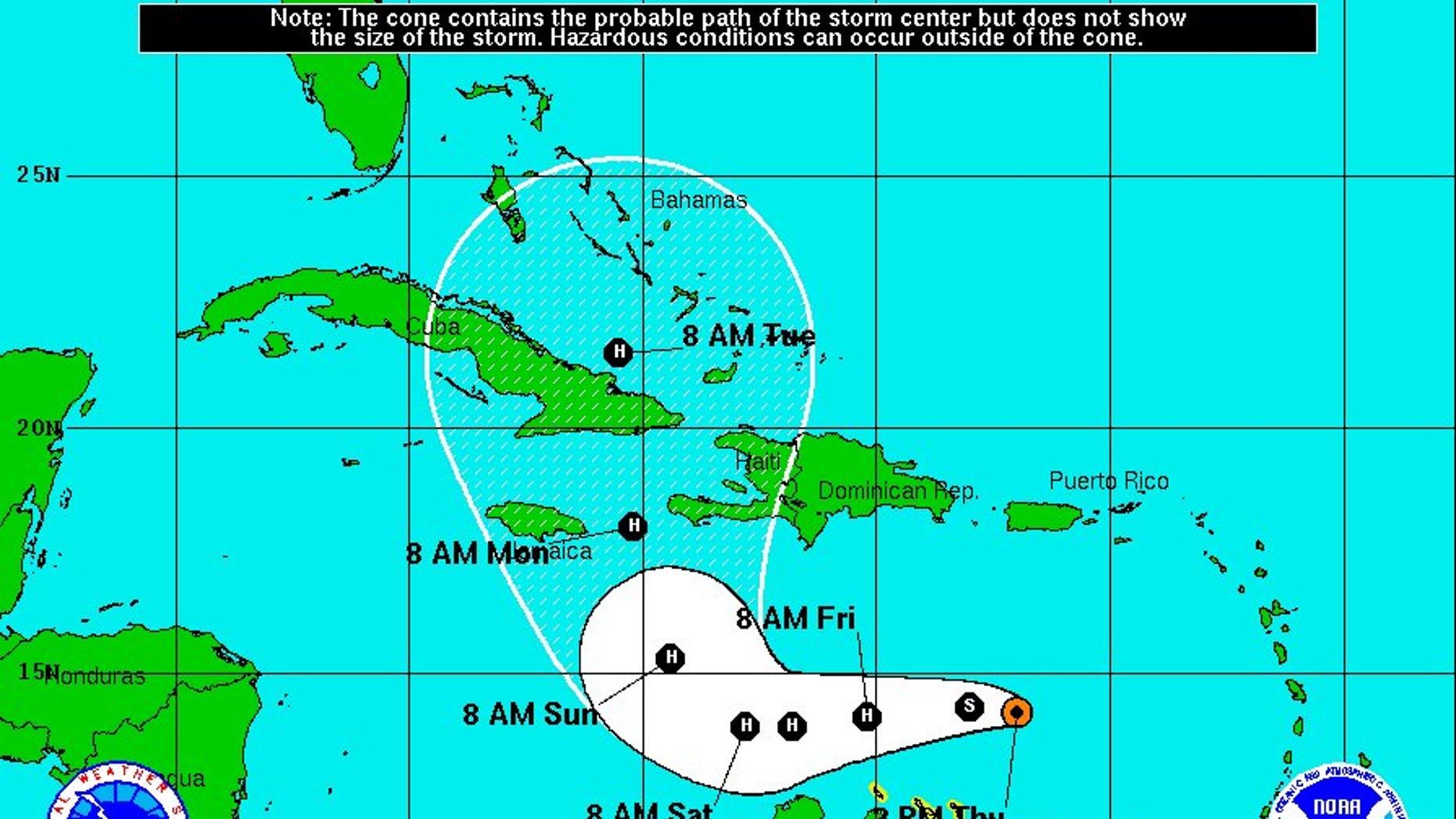 Hurricane Matthew's projected path