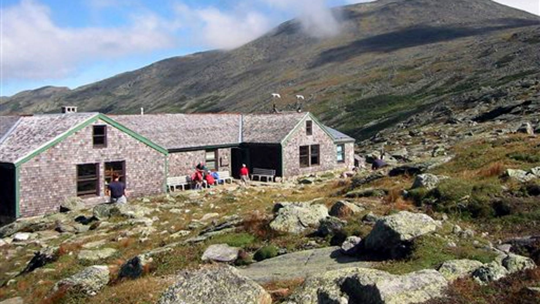 The Lakes of the Clouds Hut is seen in its spot just below the summit of Mount Washington in New Hampshire in this Sept. 11, 2004, photo. The structure is the highest among those owned and operated by the Appalachian Mountain Club, sitting on a ridge at 5,012 feet.  (AP Photo/Lisa Marie Pane, File)
