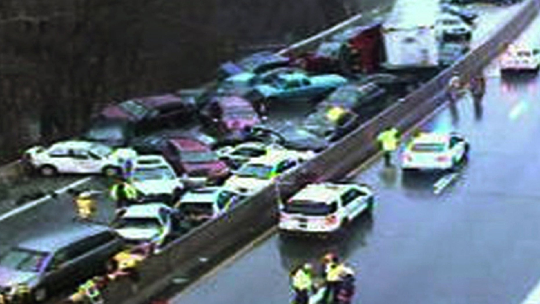 Jan. 18, 2015: In this image from PennDOT via FoxTV, more than 20 cars are piled up on I-76 in Philadelphia after freezing rain on Sunday.