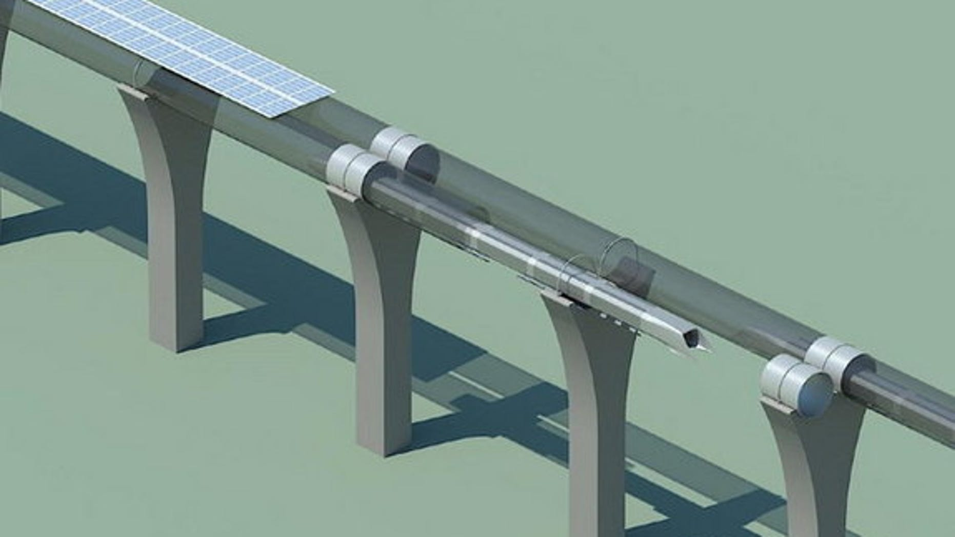 Hyperloop capsule in tube cutaway with attached solar arrays.