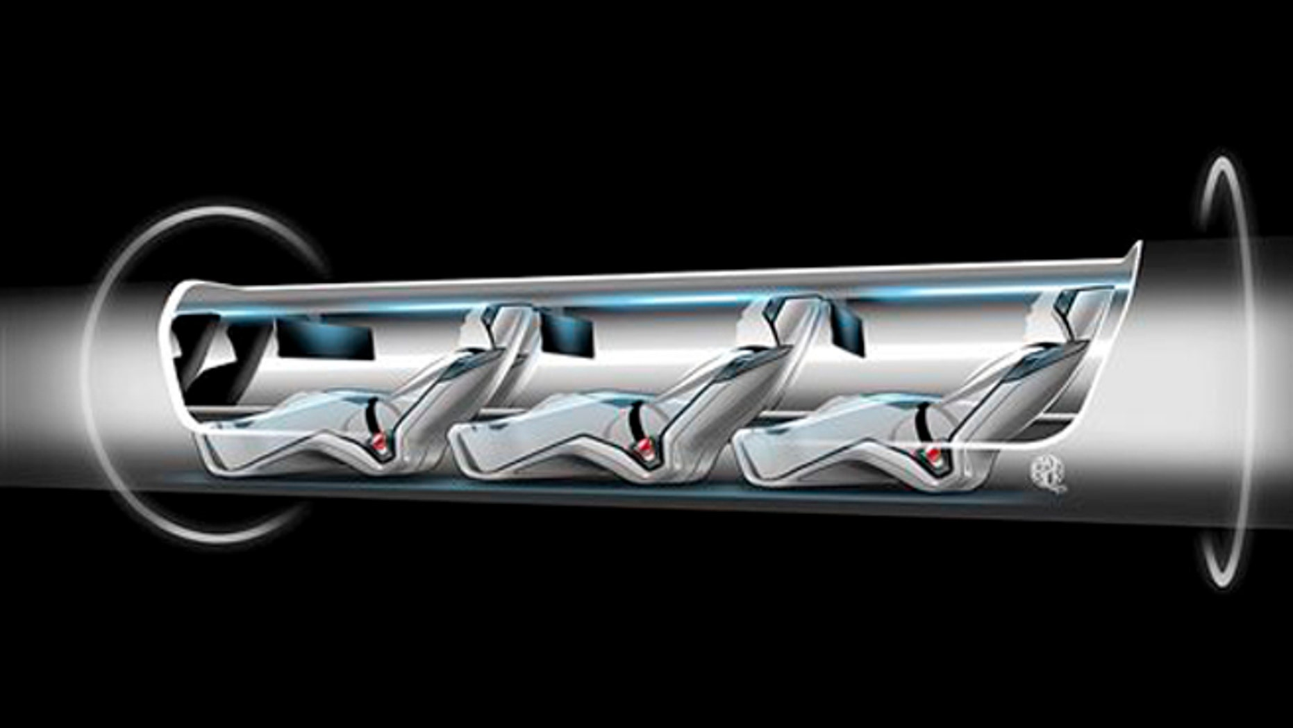 This file image released by Tesla Motors shows a sketch of the Hyperloop capsule with passengers onboard. When billionaire entrepreneur Elon Musk published fanciful plans to shoot capsules full of people at the speed of sound through a tube connecting Los Angeles and San Francisco, he asked the public to perfect his rough plans. From tinkerers to engineers, the race is on.