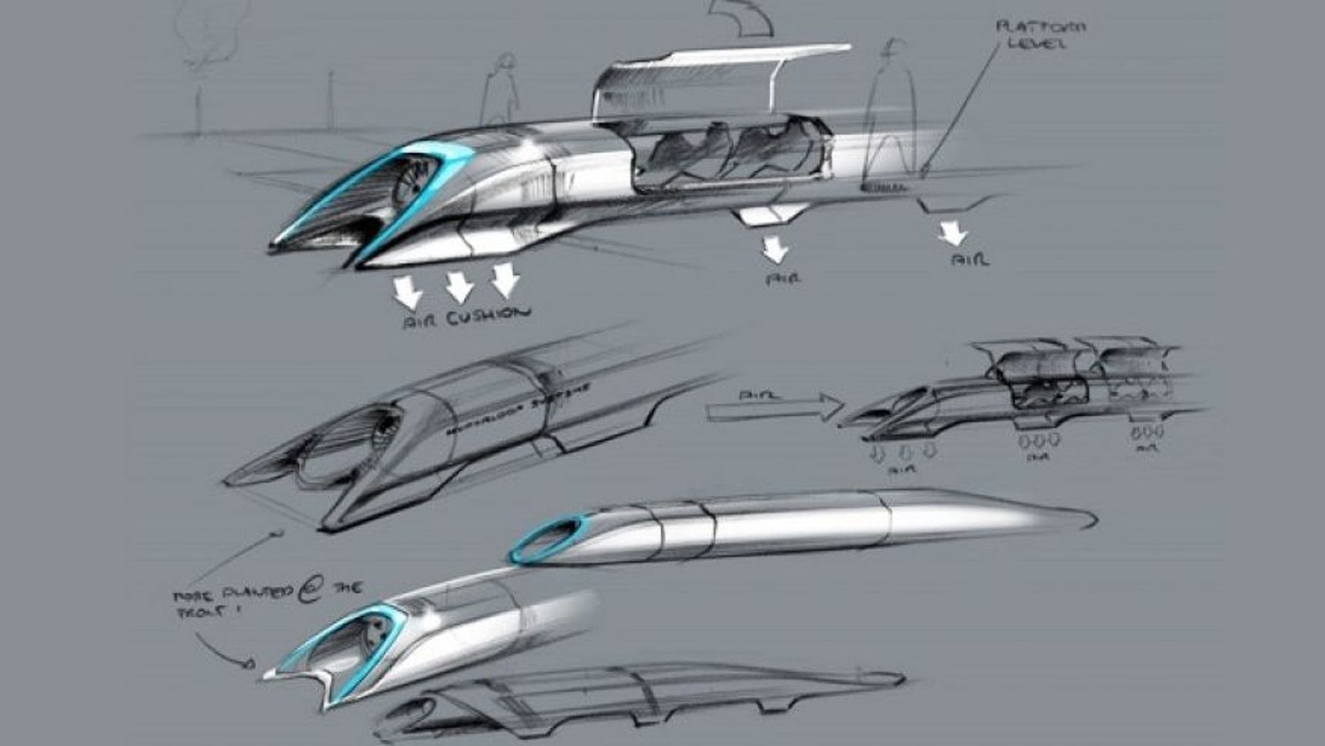 Aug. 12, 2013: Concept sketches for the Hyperloop transportation system, which uses electromagnets and pneumatic tubes to transport people (and cars) at up to 800 miles per hour. (Elon Musk)