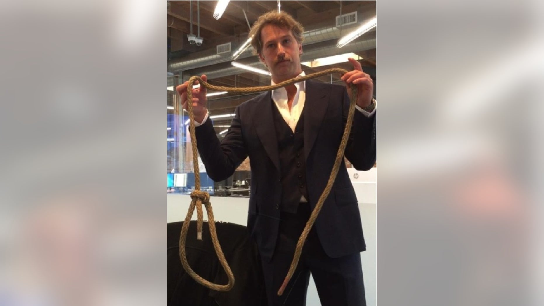 Former Hyperloop One CTO Brogan BamBrogan with the noose allegedly placed on his office chair (Image from lawsuit against Hyperloop One).