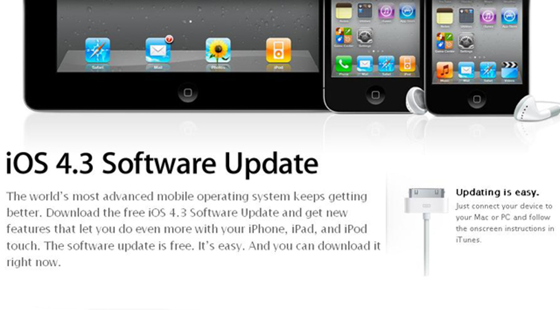Apple Releases iOS 4.3 update for iPhones, iPads and iPods -- a free update that adds new features and boosts performance, the company said.