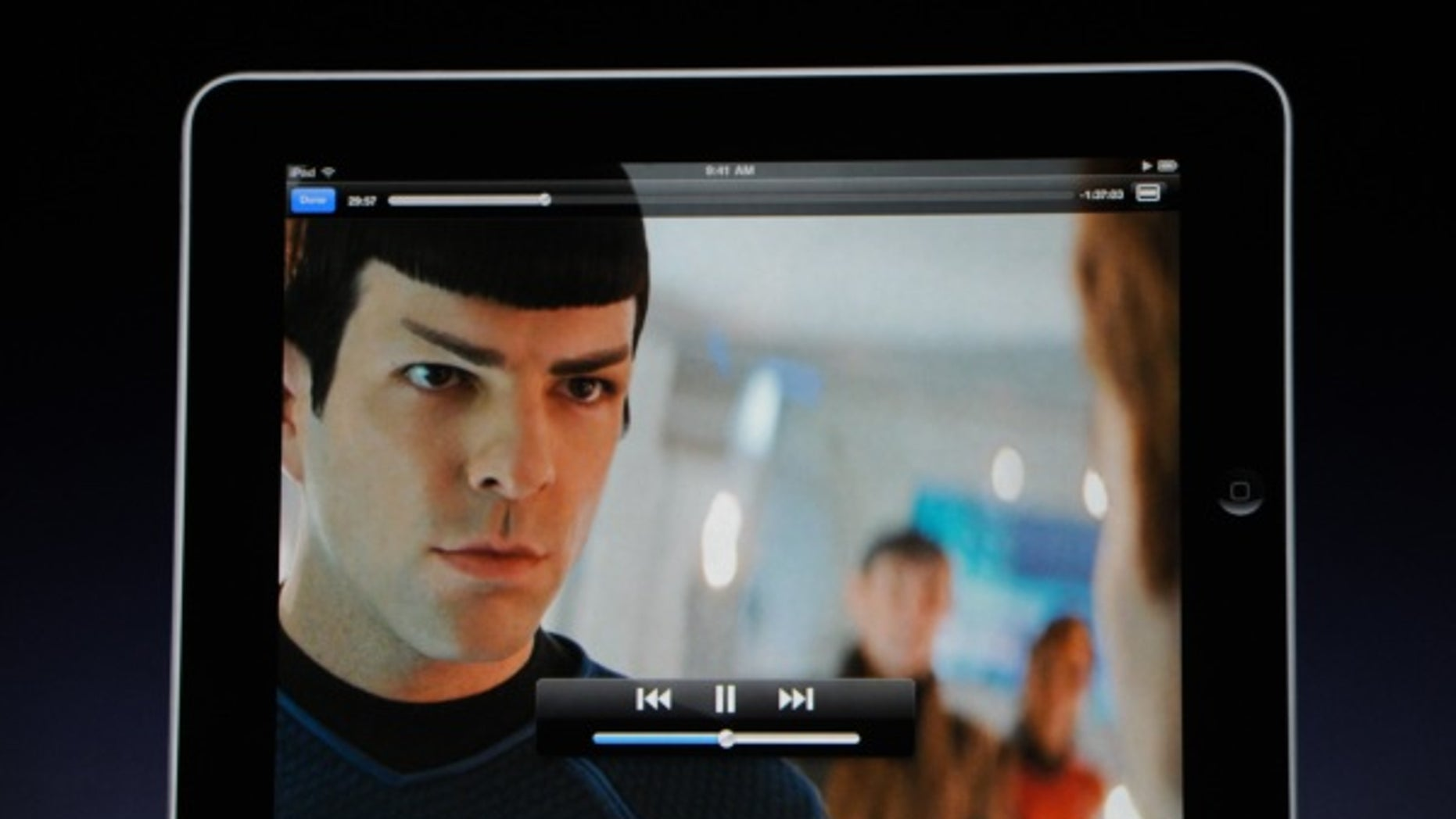 "During the iPad launch event, Steve Jobs demonstrates movie playback on the tablet device with a clip from the latest ""Star Trek"" film."