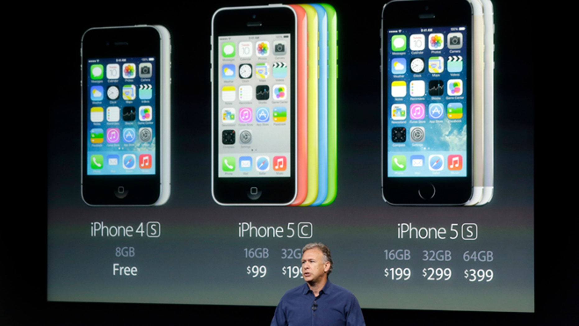 Phil Schiller, Apple's senior vice president of worldwide product marketing, speaks on stage during the introduction of the new iPhone 5c and 5s in Cupertino, Calif., Tuesday, Sept. 10, 2013. (AP Photo/Marcio Jose Sanchez)
