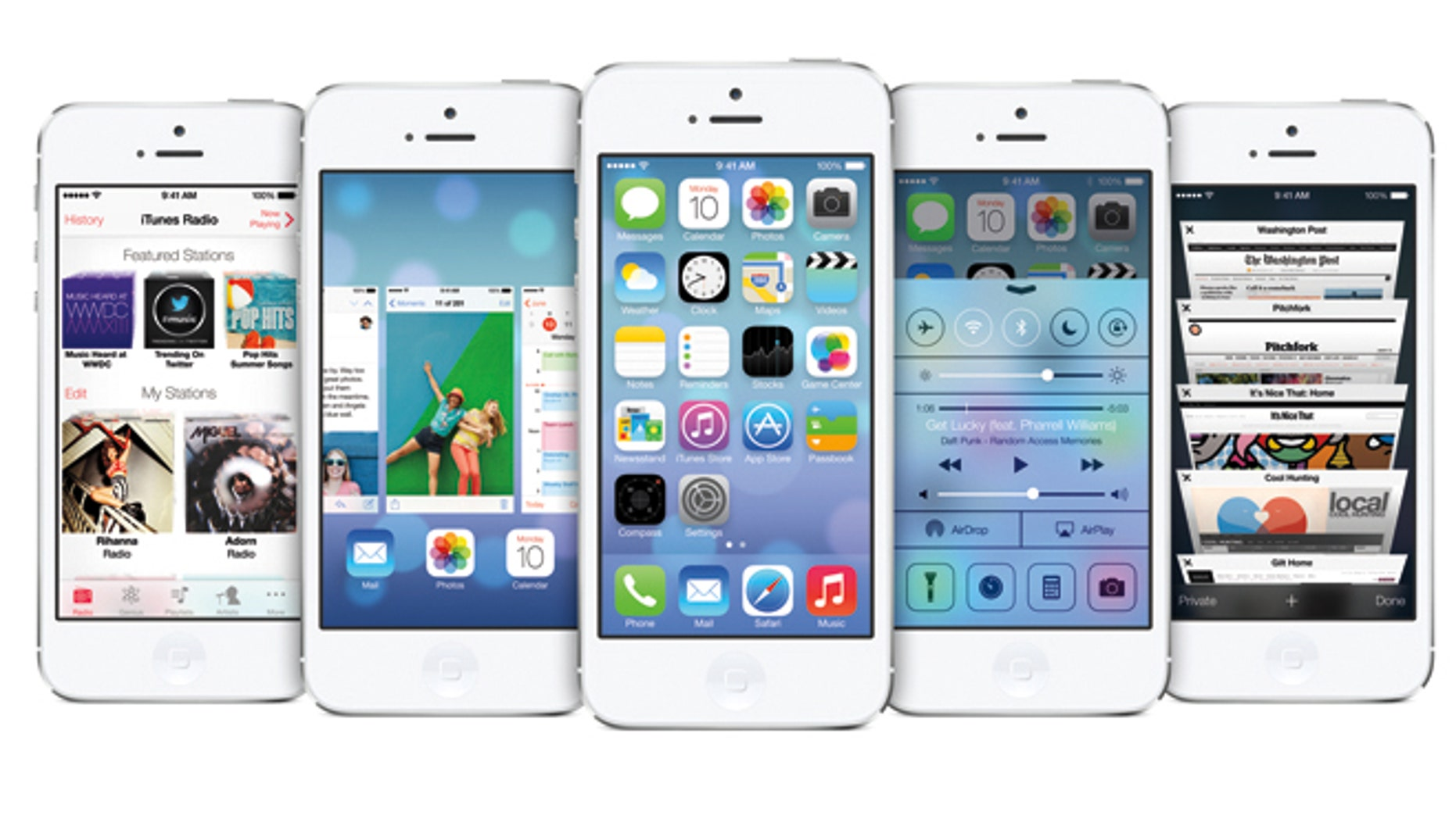 The new iOS 7, unveiled at the 2013 Worldwide Deveoper Conference.