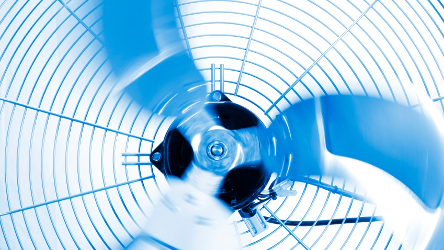 Close up shot of industrial fan while spinning