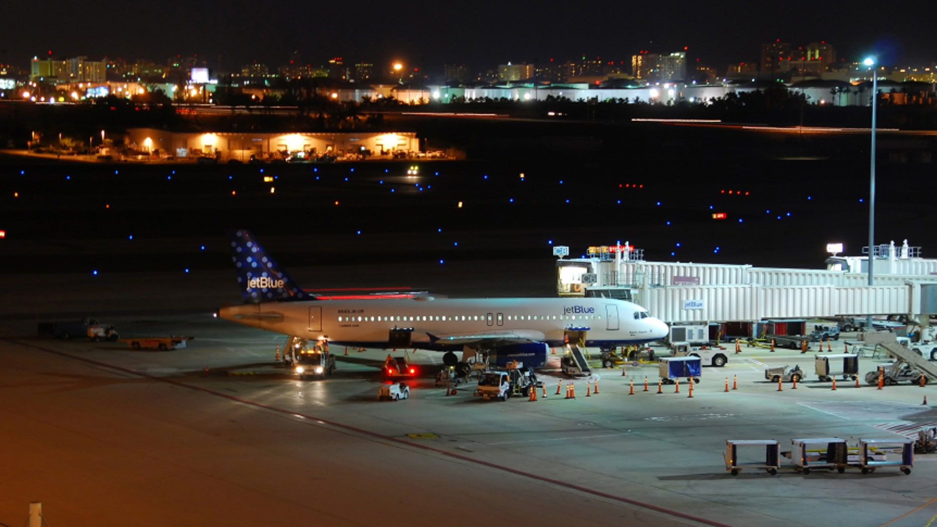 JetBlue airplane departing from Fort Lauderdale Hollywood International Airport.