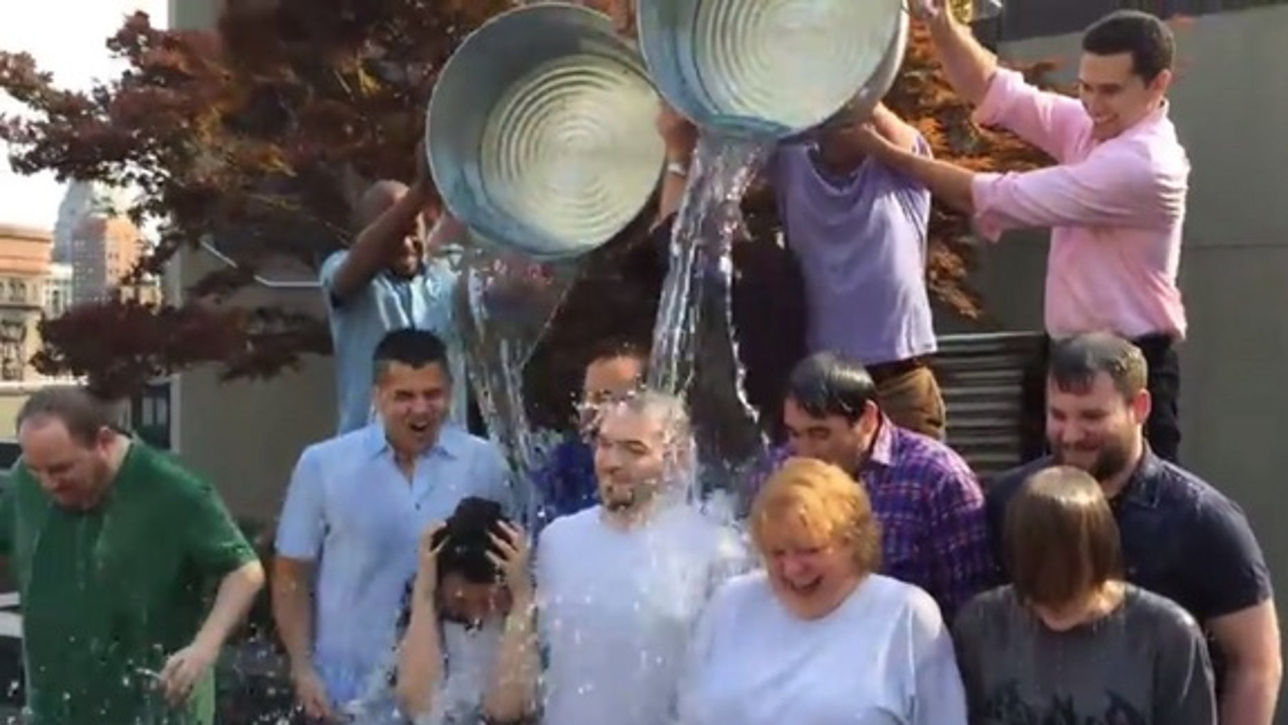 The editorial staff of Tom's Guide, a sister site to Live Science, takes the Ice Bucket Challenge.