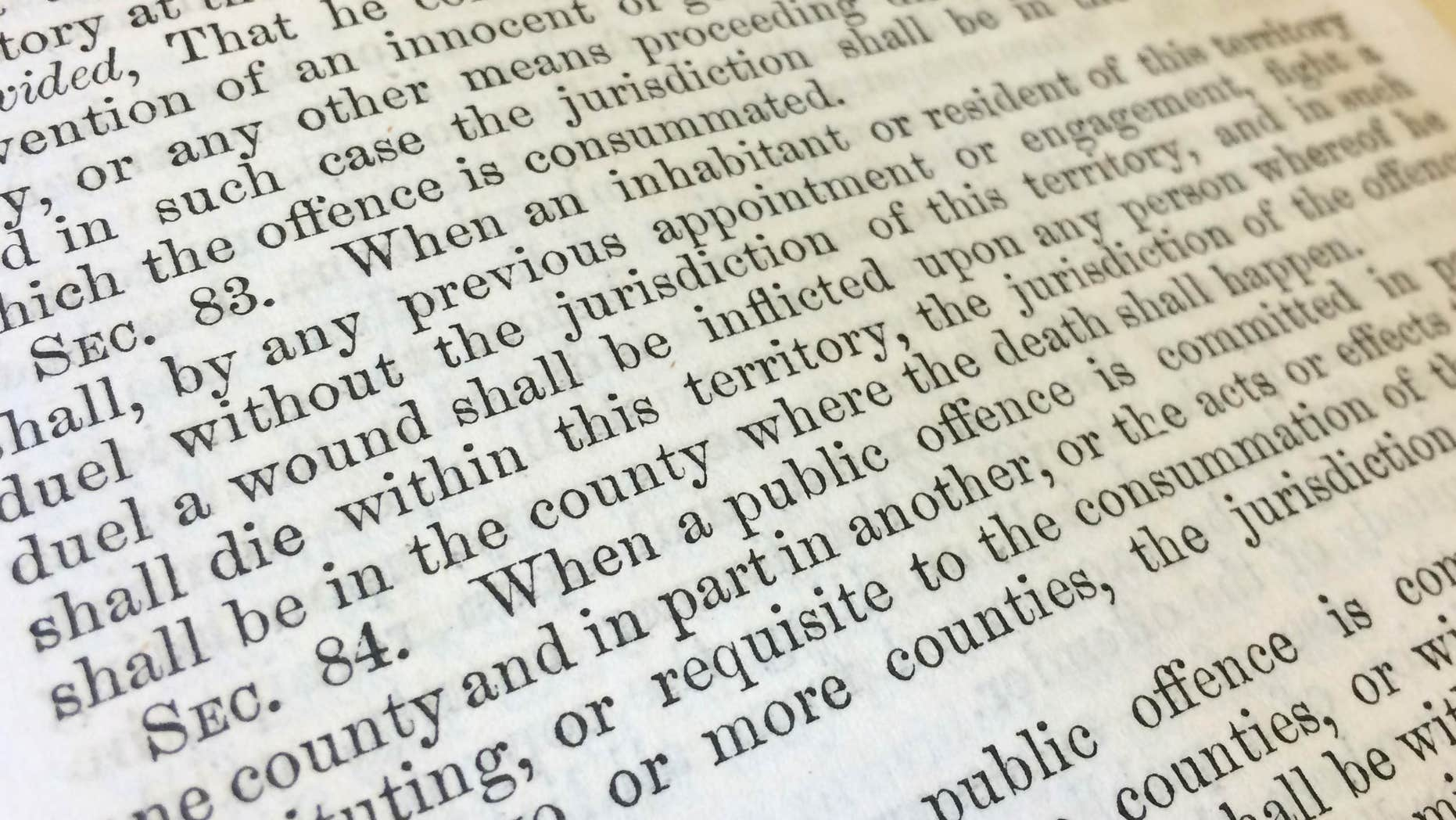 Feb. 13, 2015: The 1864 Idaho law dealing with dueling in Boise, Idaho.