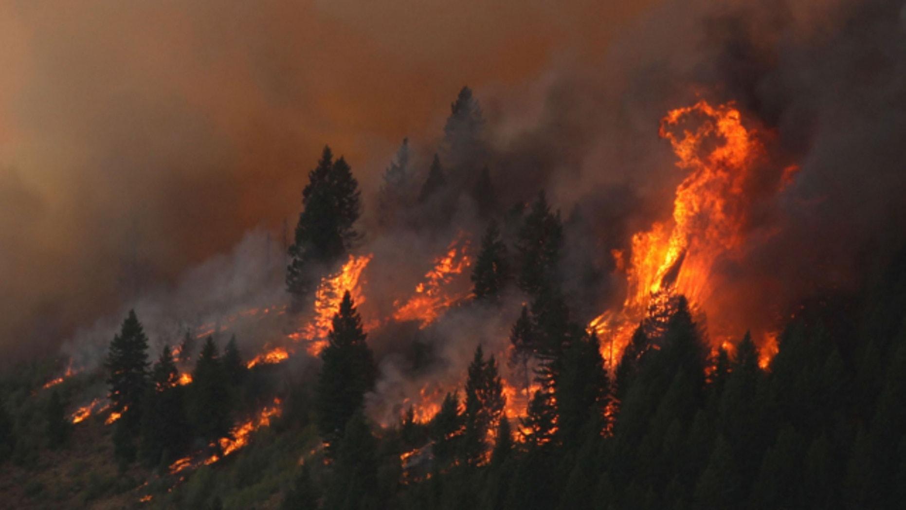 Aug. 11, 2013: The 80,300-acre Elk Fire Complex burns across Elmore County, Idaho.