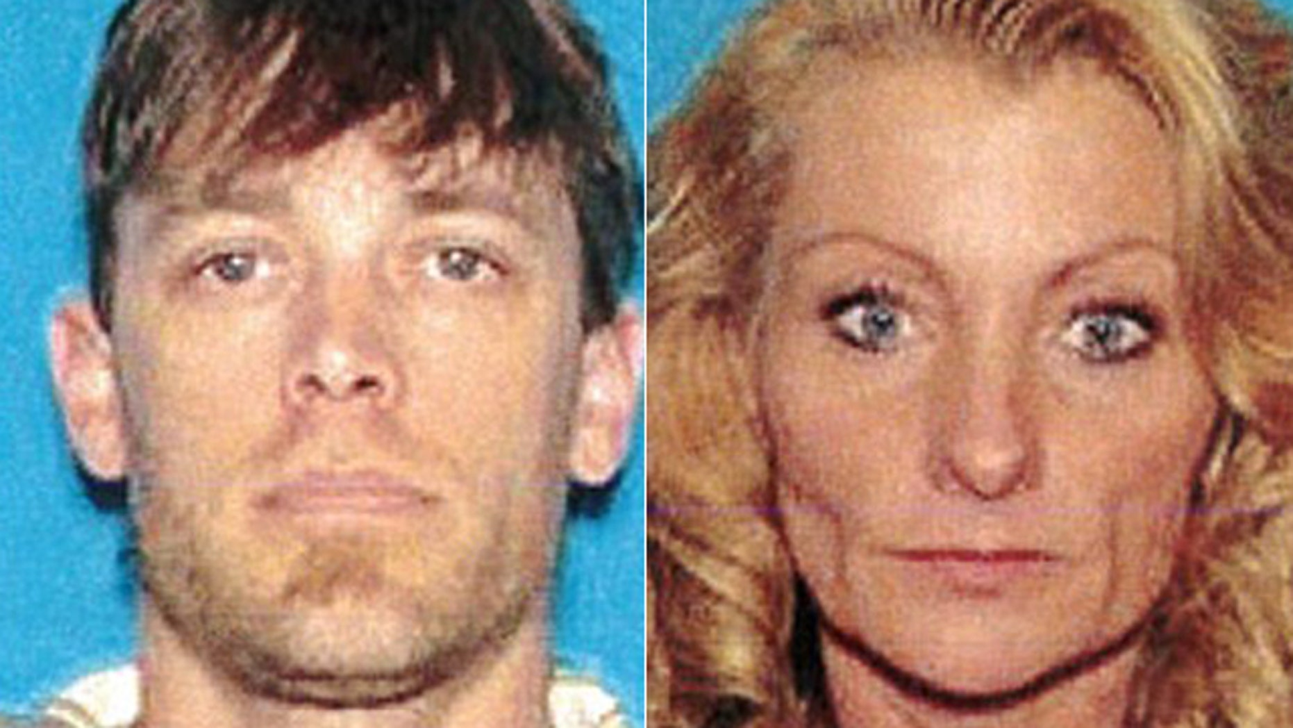 These undated photos show Jeremy White, who was wanted for second-degree murder, and Deena Aday, who is believed to be accompanying him.