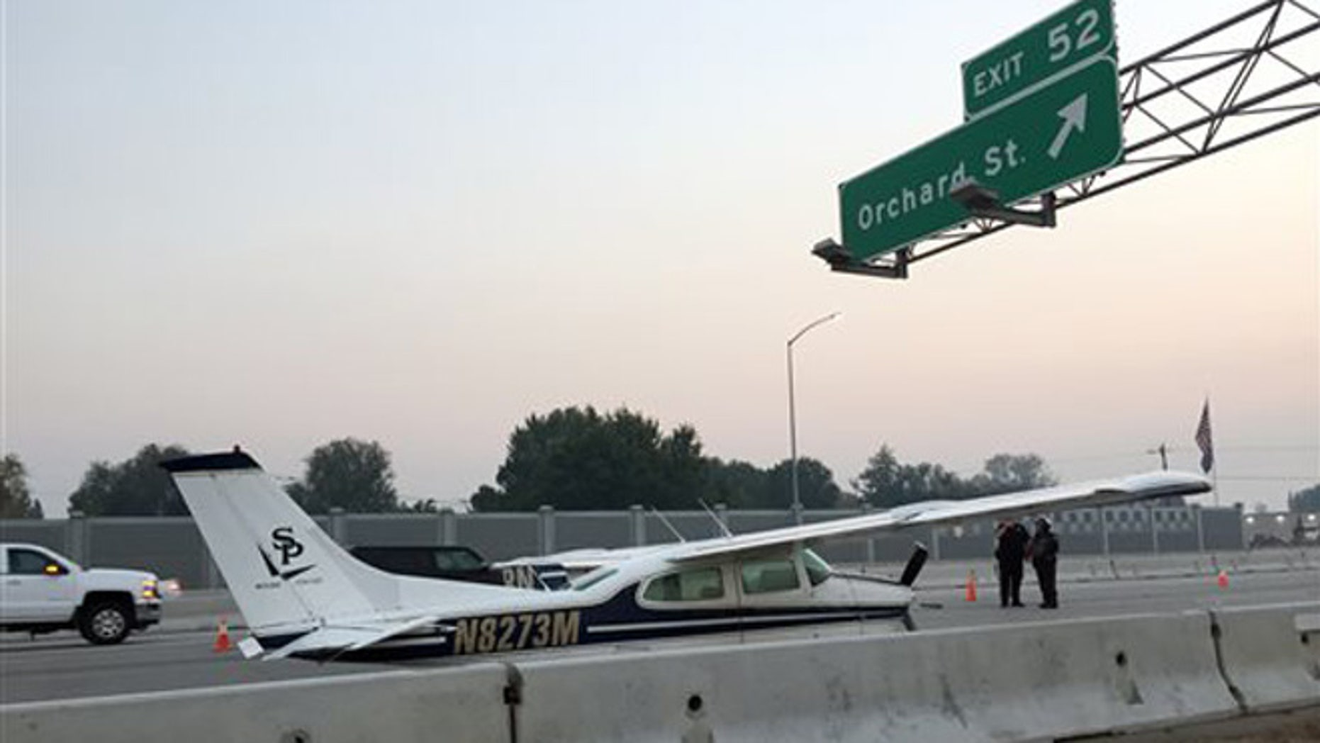 Oct. 13, 2015: A small plane makes an emergency landing on I-84 in Boise, Idaho.