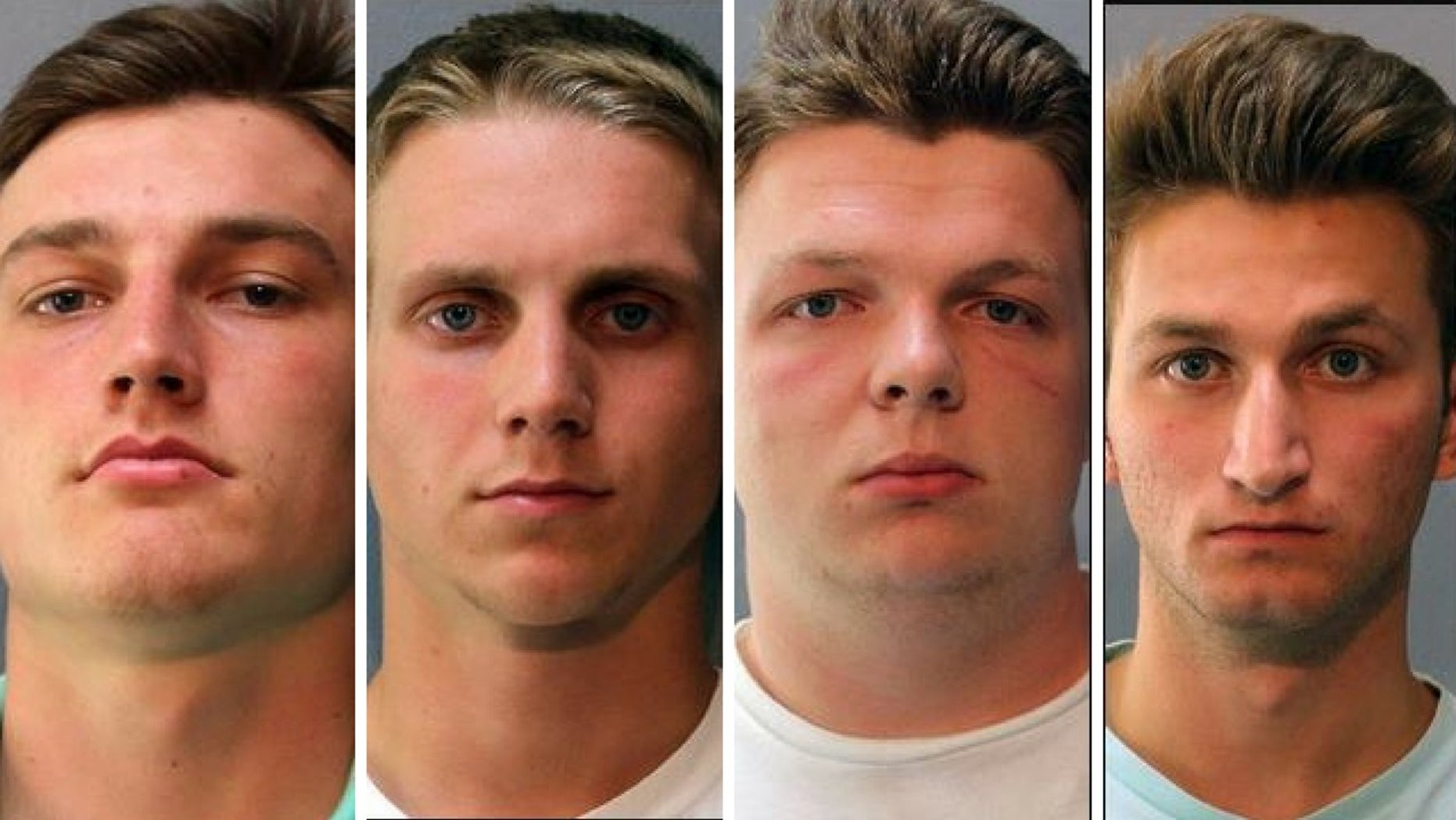 From left to right: Joshua Shaffer, Tyler Curtiss, Seth Taylor and Matthew Lipp were charged with hate crimes after racist graffiti were found spray-painted at Glenelg High School.